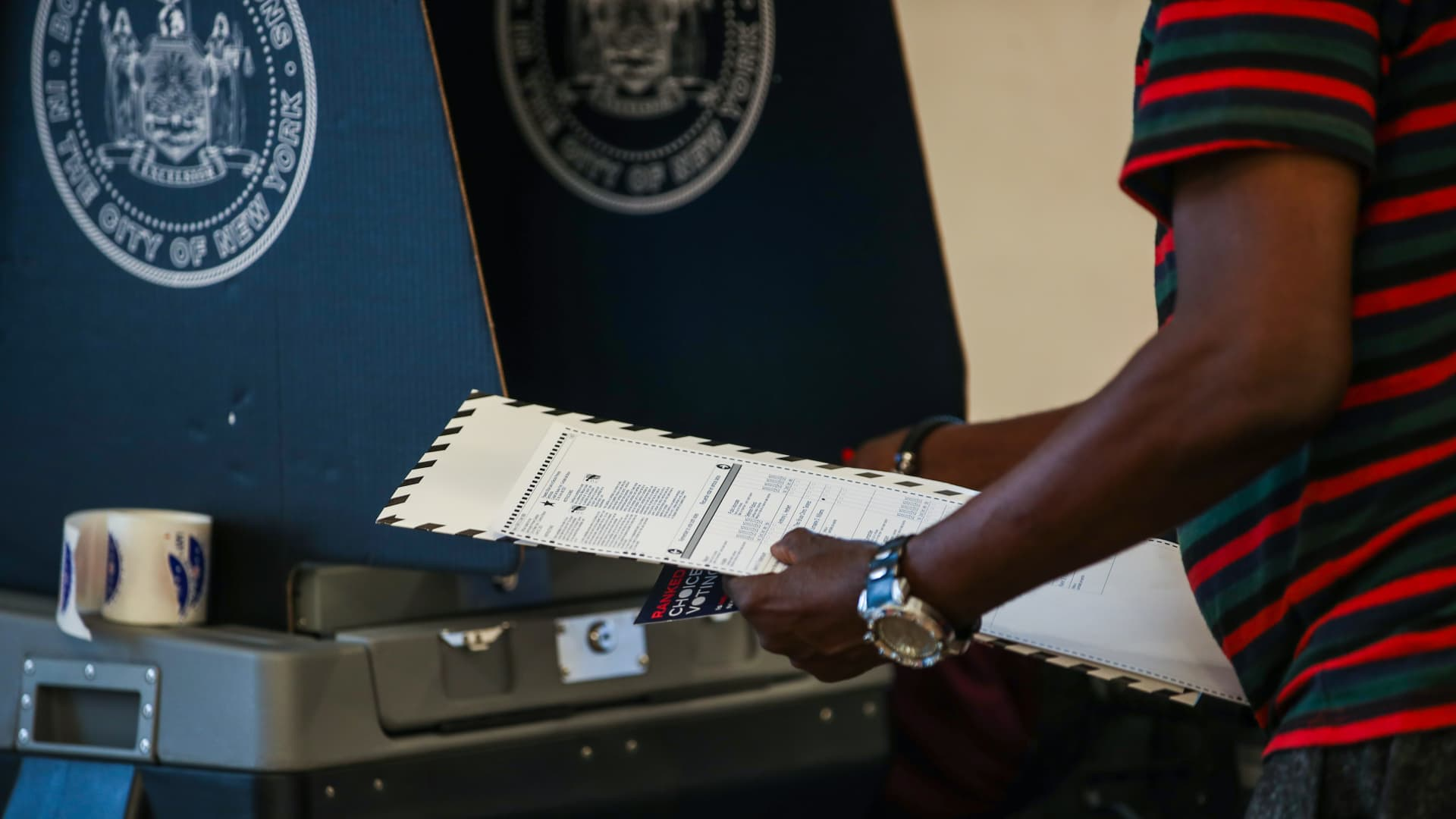 A polling site is seen as early voting in New York City's mayoral primary election has started as of Saturday which voters can choose up to five candidates in New York City, United States on June 13, 2021.