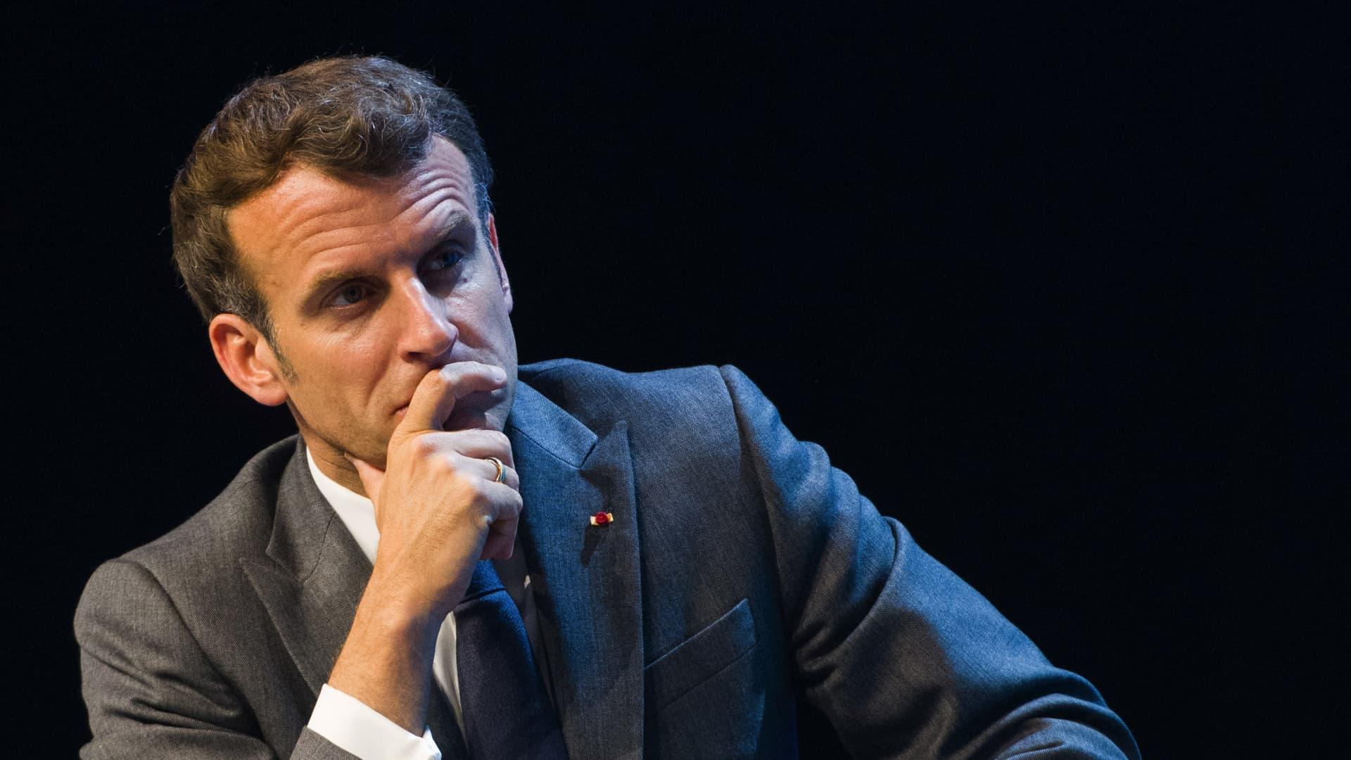 Emmanuel Macron, Frances president, pauses at the Viva Technology conference at Porte de Versailles exhibition center in Paris, France.