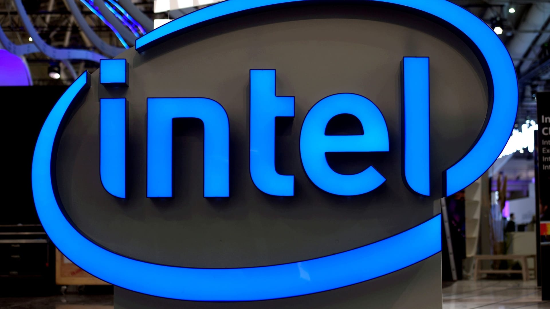 Intel's logo is pictured during preparations at the CeBit computer fair.