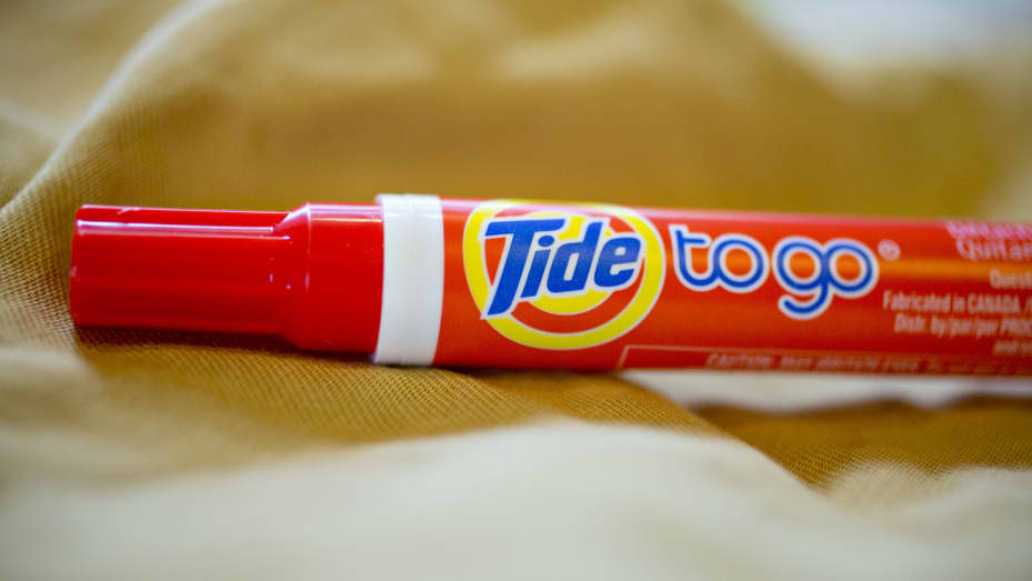 Procter & Gamble Co. Tide To Go Pen brand stain remover is arranged for a photograph in Tiskilwa, Illinois.