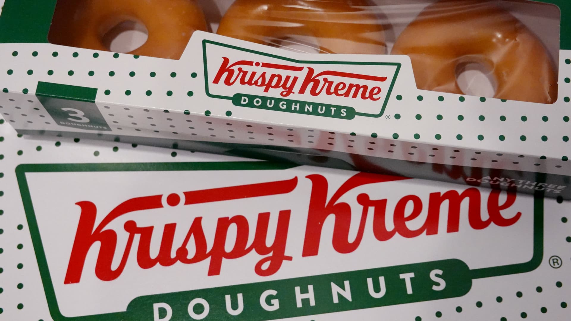Doughnuts are sold at a Krispy Kreme store on May 05, 2021 in Chicago, Illinois. The doughnut chain reported yesterday that it plans to take the company public again.