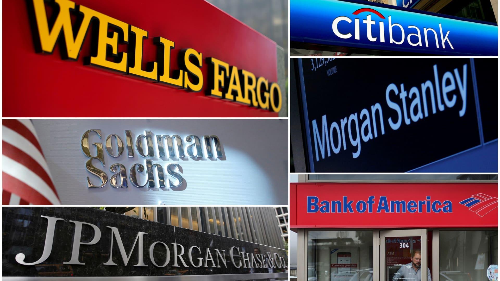 A combination file photo shows Wells Fargo, Citibank, Morgan Stanley, JPMorgan Chase, Bank of America and Goldman Sachs.