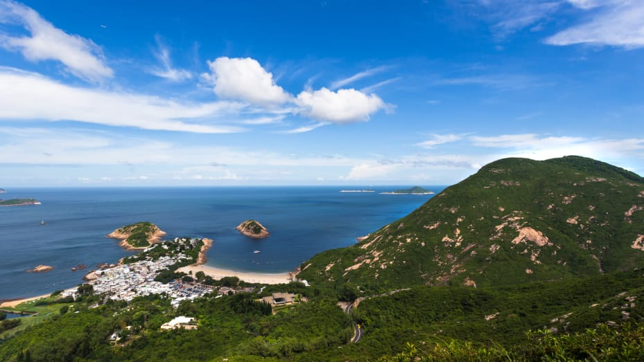 The view along Dragon's Back, a popular hiking trail in Sheck O Country Park on Hong Kong Island.
