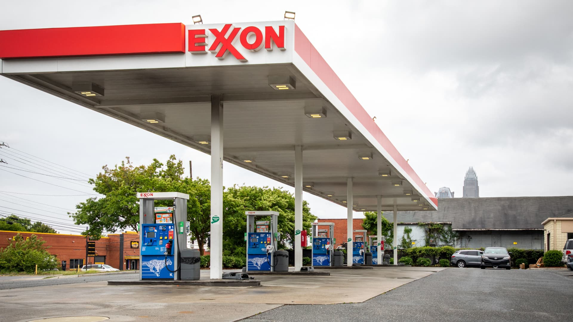 Gas pumps sit empty at an Exxon gas station in Charlotte, North Carolina on May 12, 2021.
