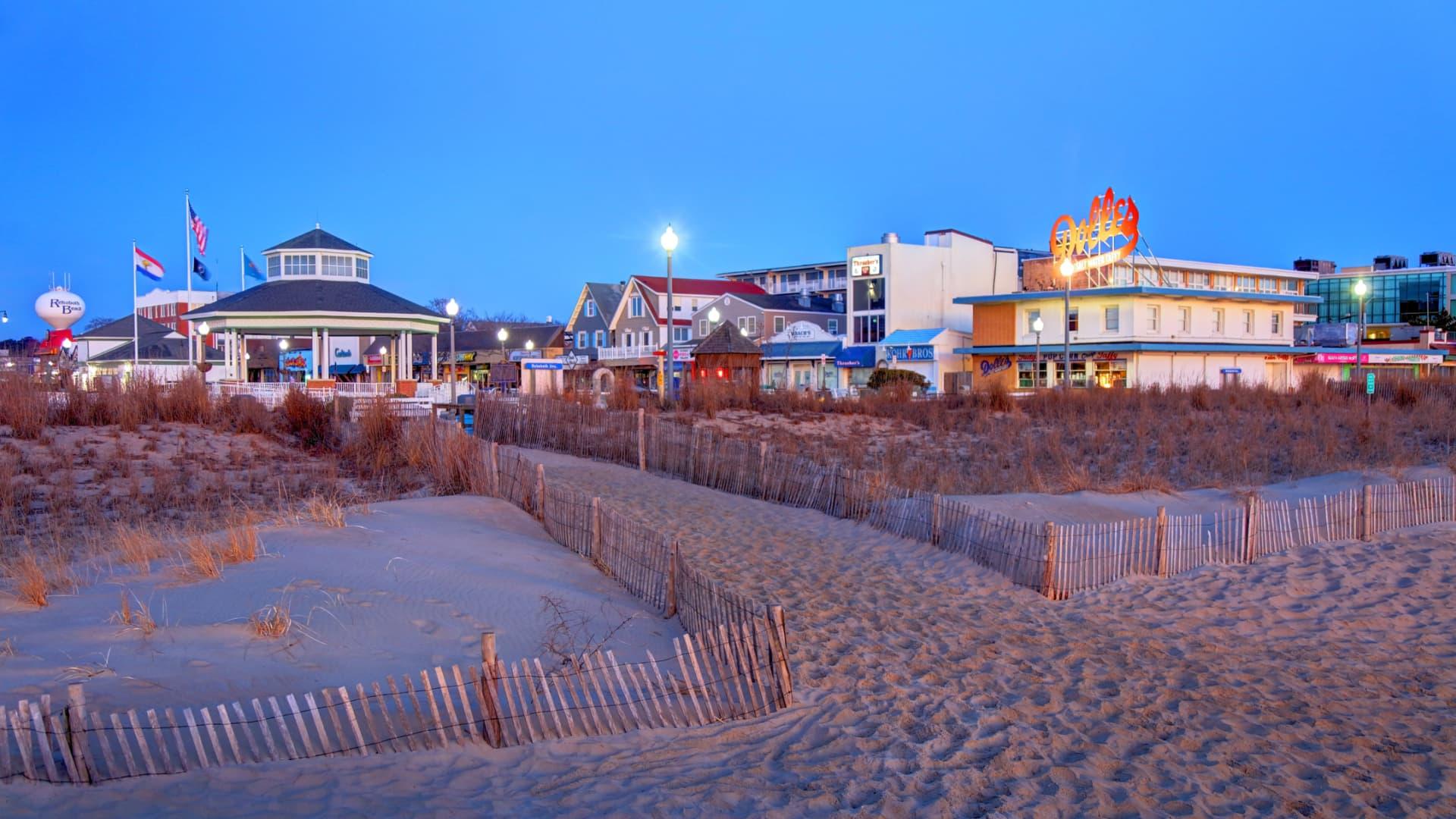 Rehoboth Beach, Delaware, is a city on the Atlantic Ocean.