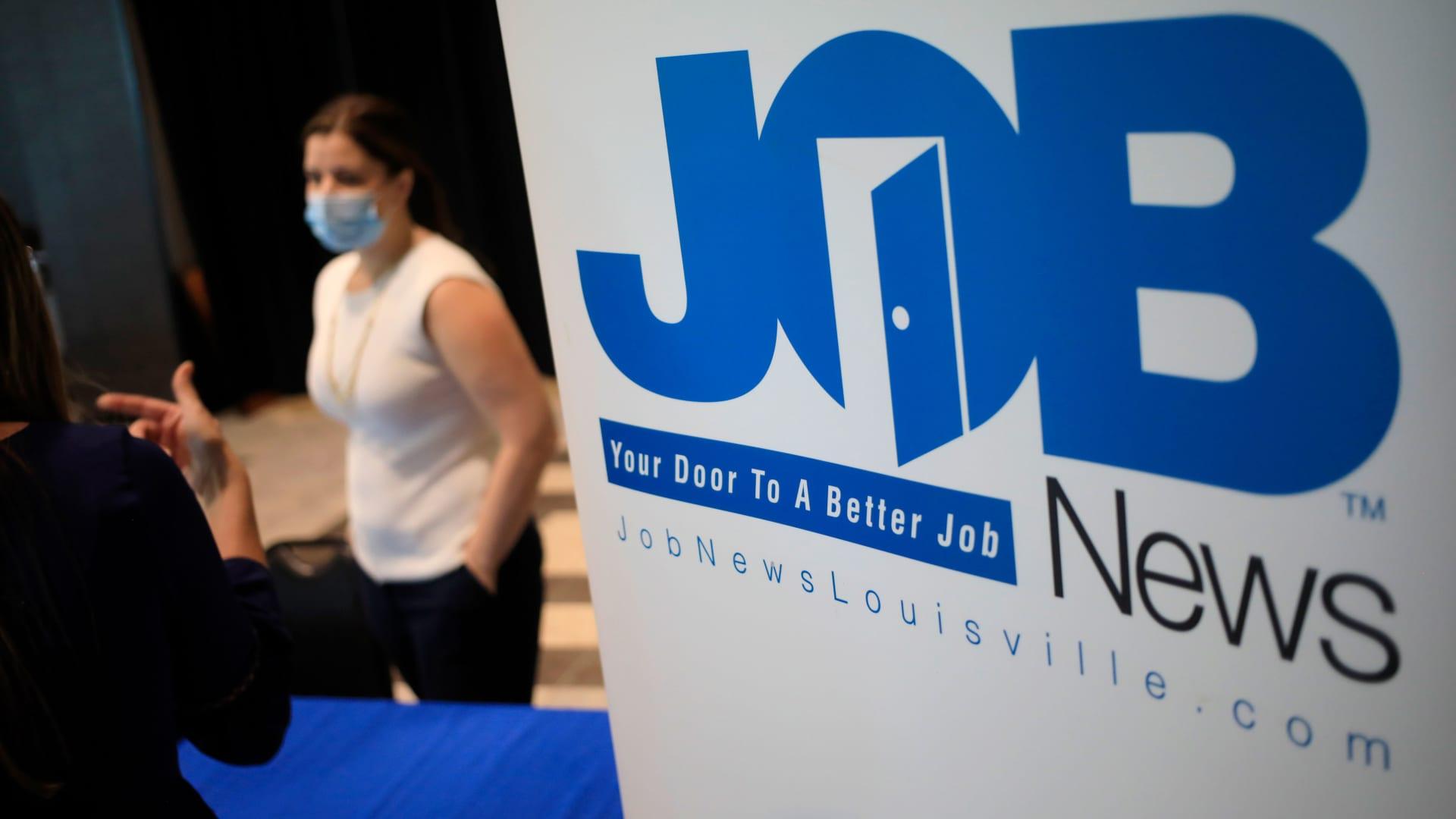 Signage at a Job News USA career fair in Louisville, Kentucky, U.S., on Wednesday, June 23, 2021.