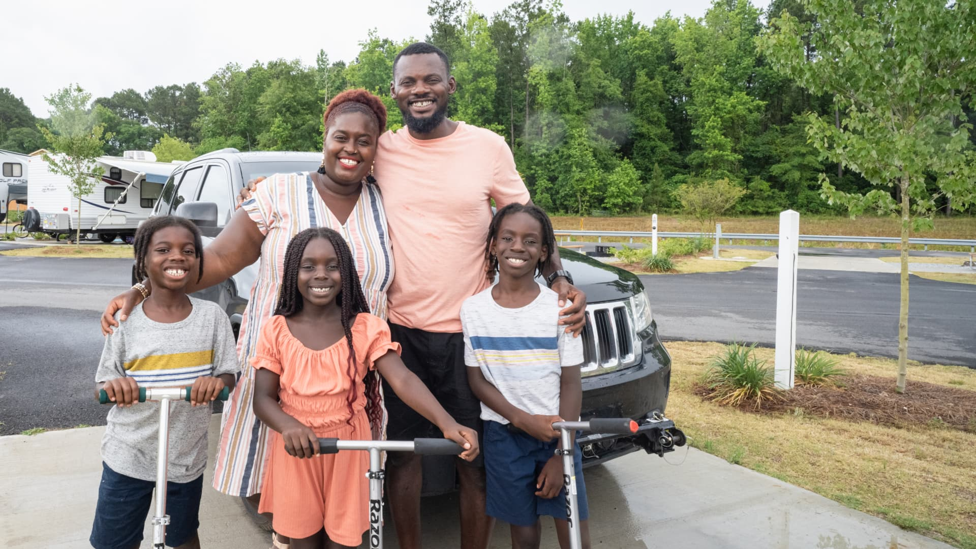 Karen and Sylvester Akpan with their son, Aiden (L), niece, Avery, and nephew, Ethan.