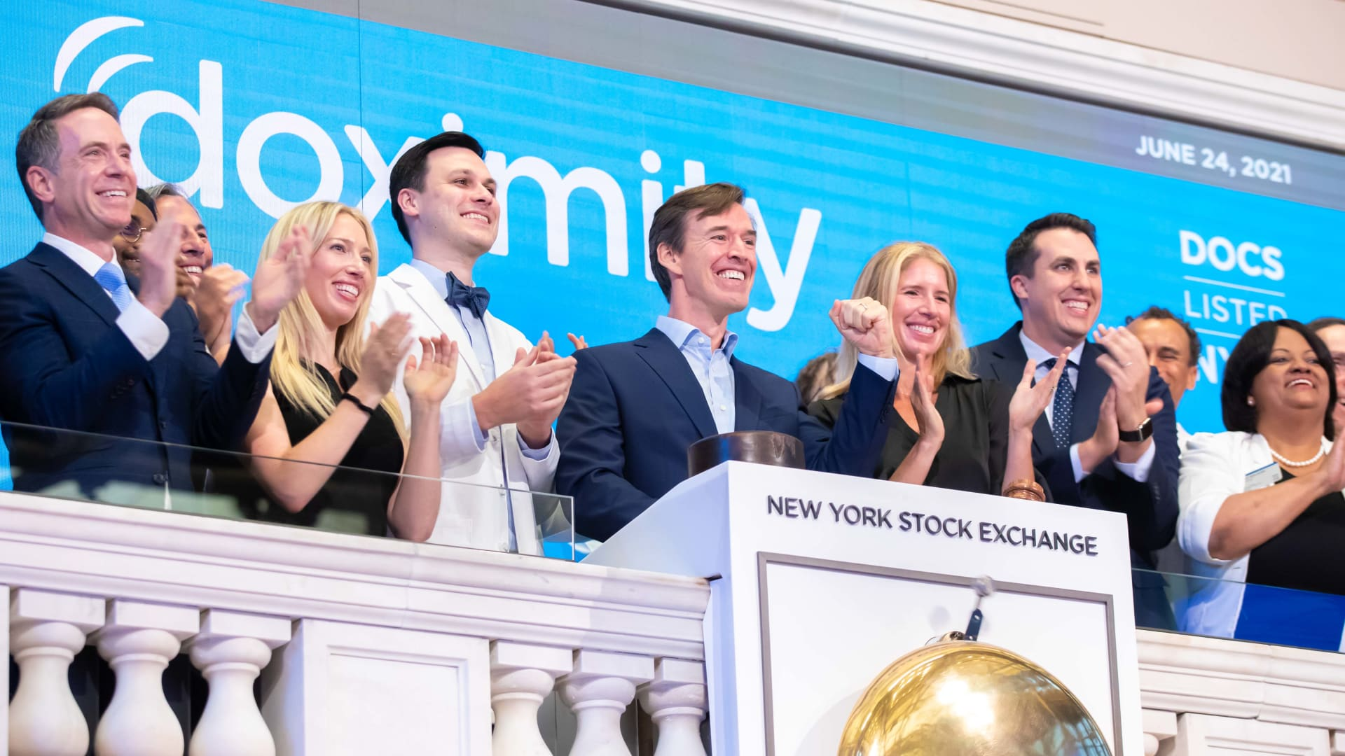 Jeff Tangney, CEO, of Doximity at the New York Stock Exchange for their IPO, June 24, 2021.
