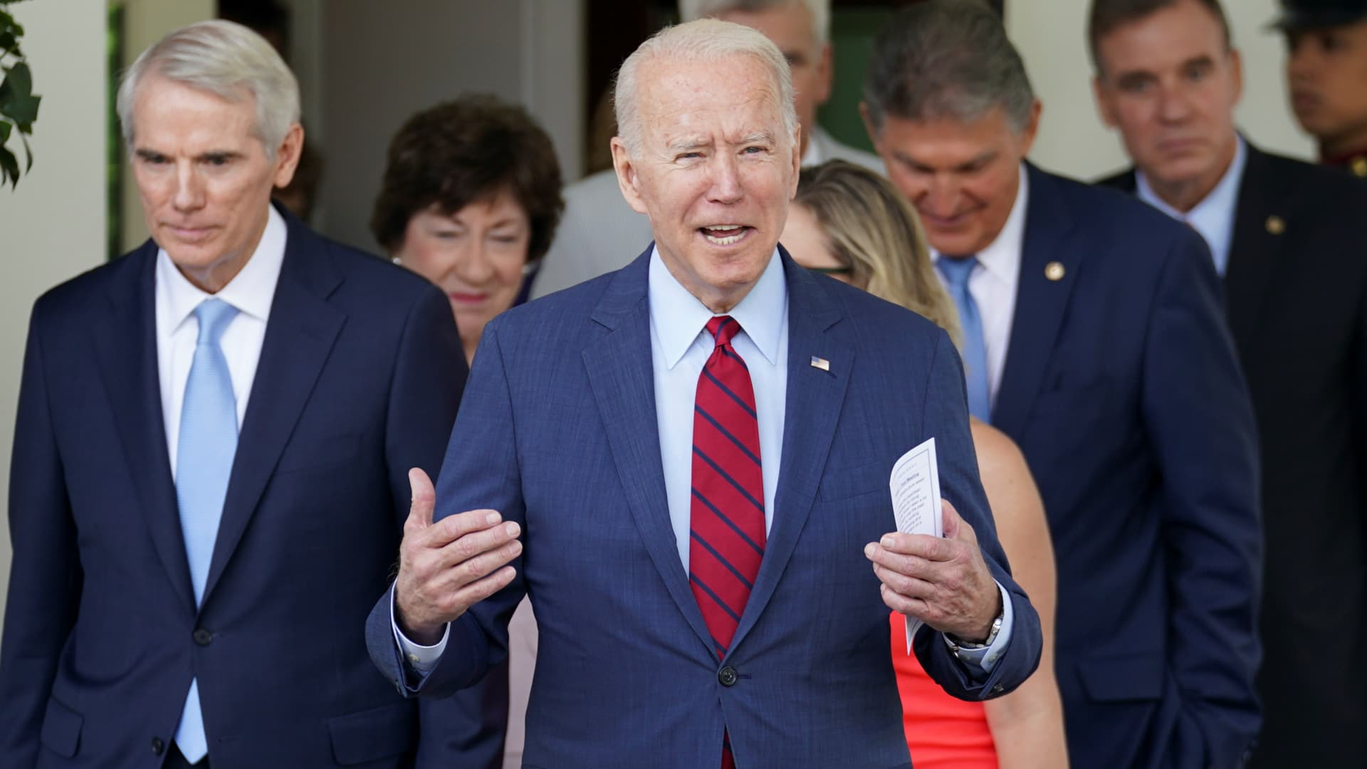 U.S. President Joe Biden reacts as he exits the West Wing of the White House for talking to the media, following a bipartisan meeting with U.S. senators about the proposed framework for the infrastructure bill, at the White House in Washington, June 24, 2021.