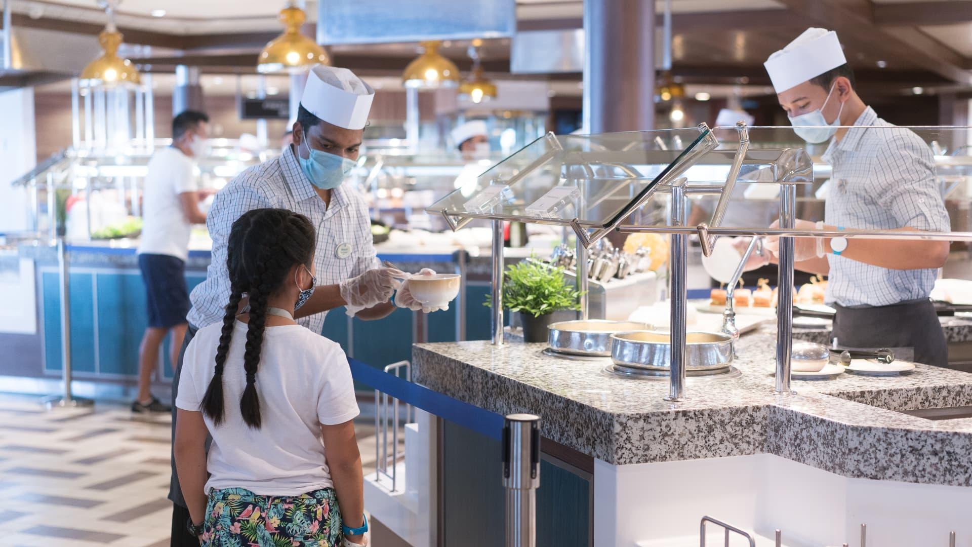 A buffet on Royal Caribbean's Odyssey of the Seas ship