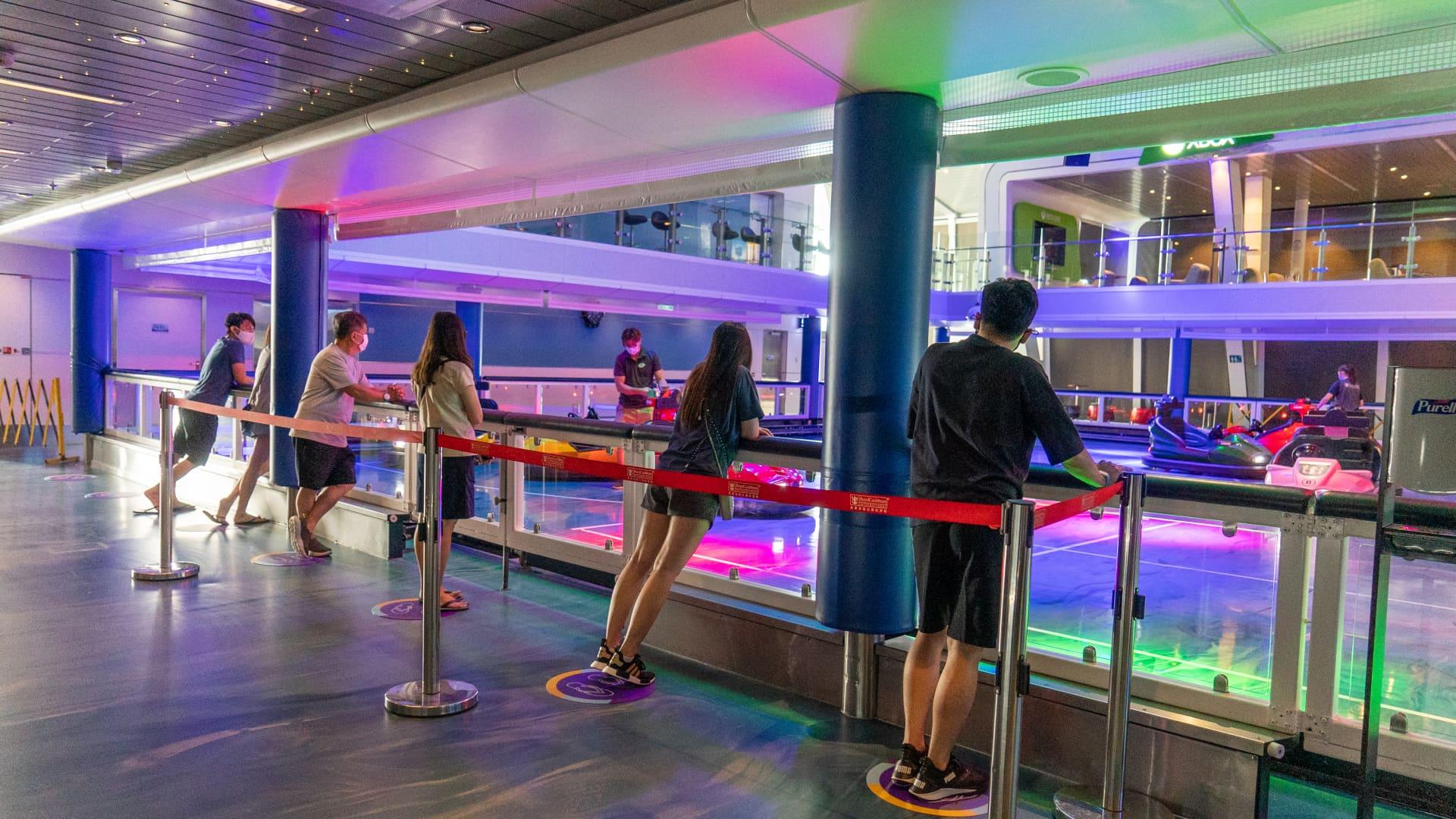 A socially distanced cruise activity on Royal Caribbean's Odyssey of the Seas