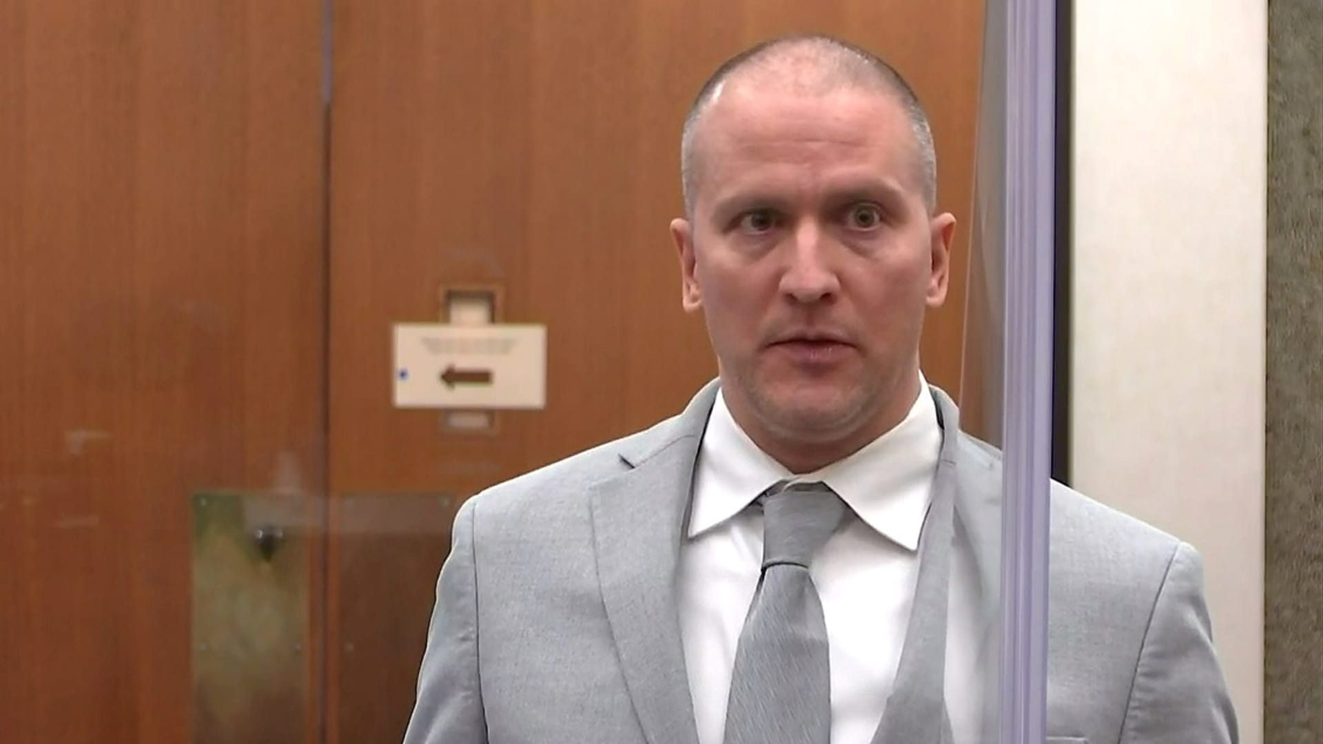 Former Minneapolis police officer Derek Chauvin addresses his sentencing hearing and the judge as he awaits his sentence after being convicted of murder in the death of Floyd in Minneapolis, Minnesota, U.S. June 25, 2021 in a still image from video.