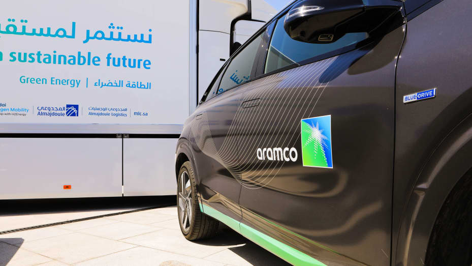 A hydrogen-powered vehicle, operated by Saudi Aramco, on display at the Air Products New Technology Center in Dhahran, Saudi Arabia, on Sunday, June 27, 2021.