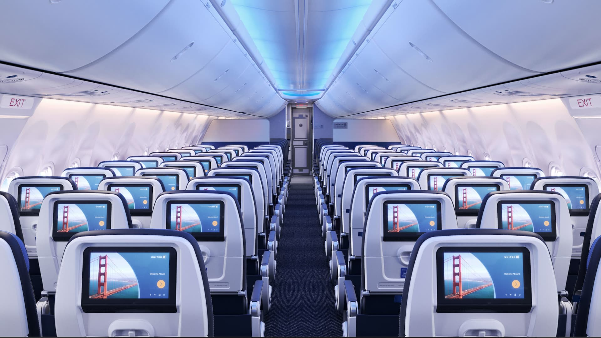 United plans to outfit new jetliners with seat-back screens.