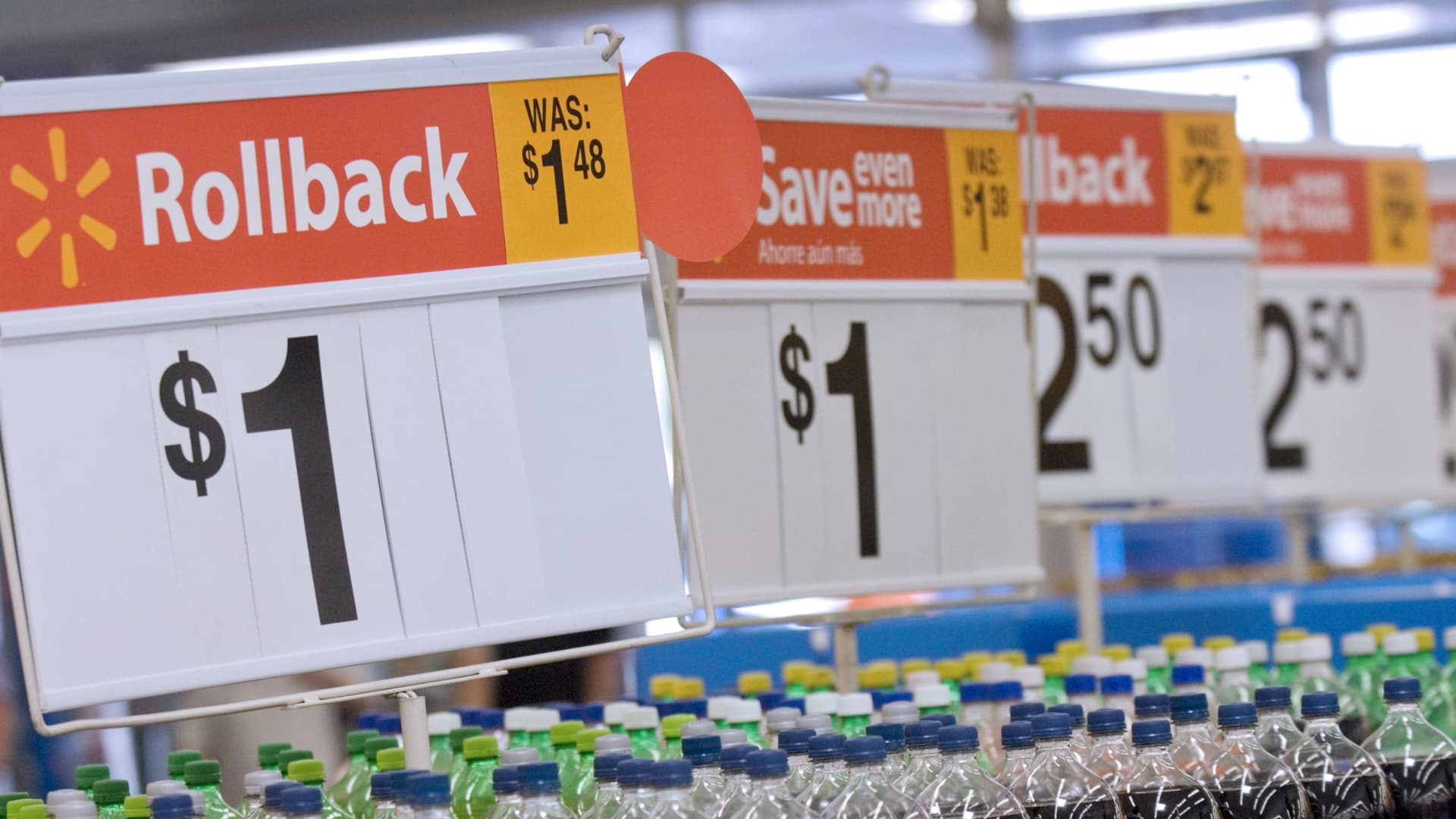 Discounts on soda at a WalMart store in Rogers, Arkansas.