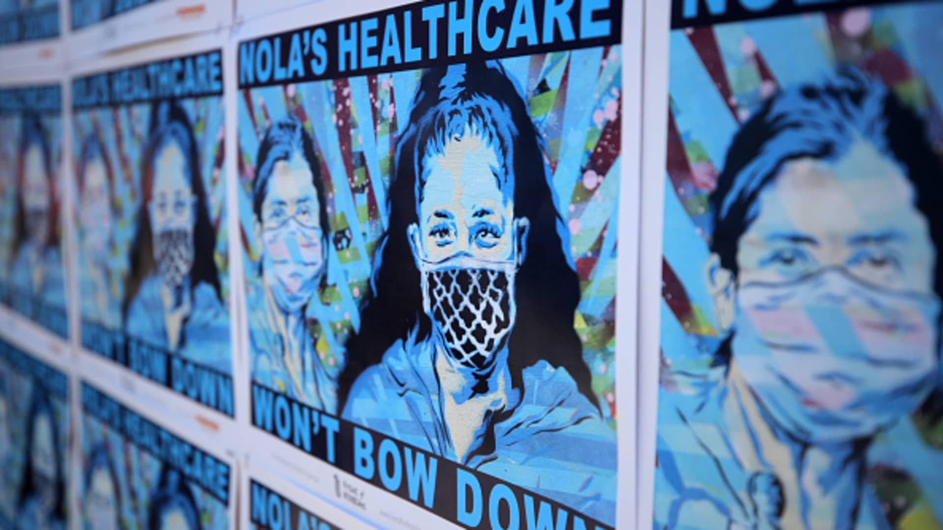 A poster for New Orleans healthcare workers is seen with the slogan 'Won't Bow Down' on Frenchmen Street on April 24, 2020 in New Orleans, Louisiana.