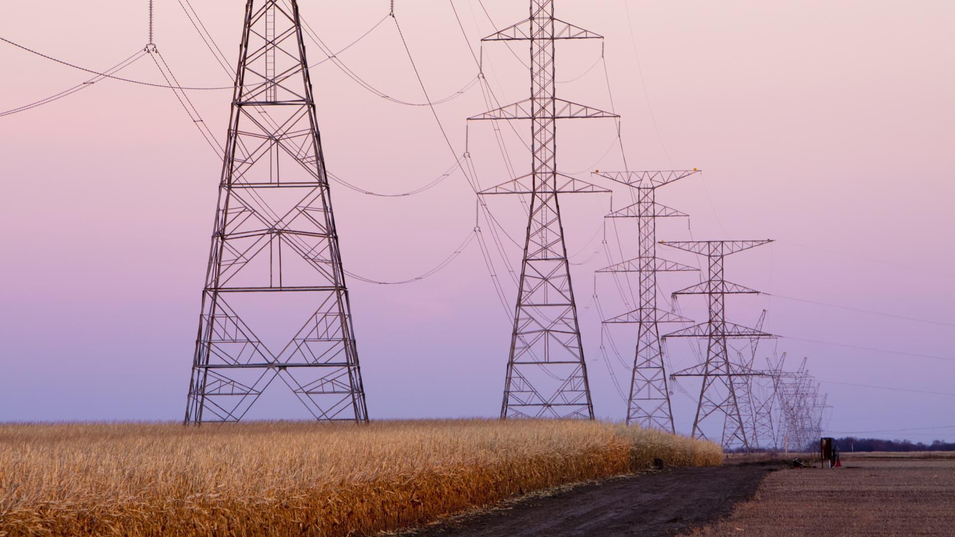 High capacity electrical transmission lines in rural Nebraska, USA.