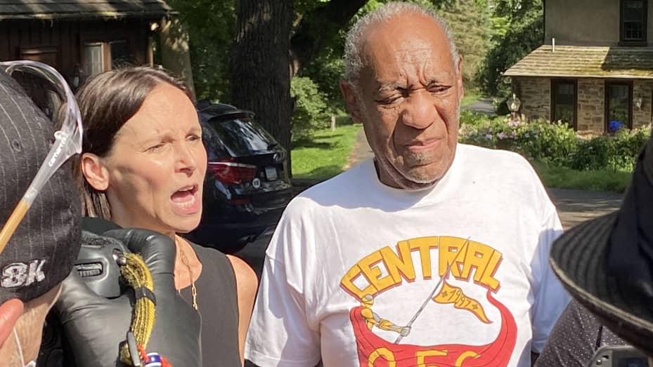 Attorney Jennifer Bonjean and Bill Cosby speak outside of Bill Cosby's home on June 30, 2021 in Cheltenham, Pennsylvania.
