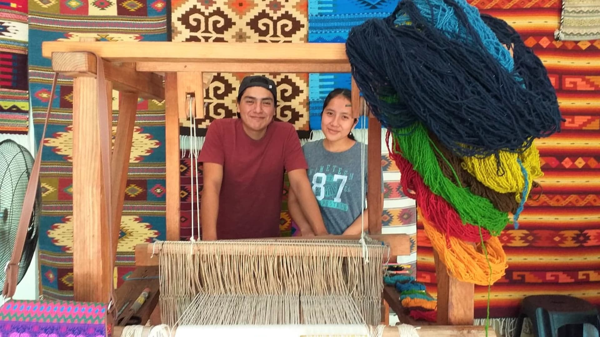 Colored with natural dyes and loomed by hand, the designs in traditional Oaxacan wool rugs tell stories of the Zapotec people and the cycle of life.
