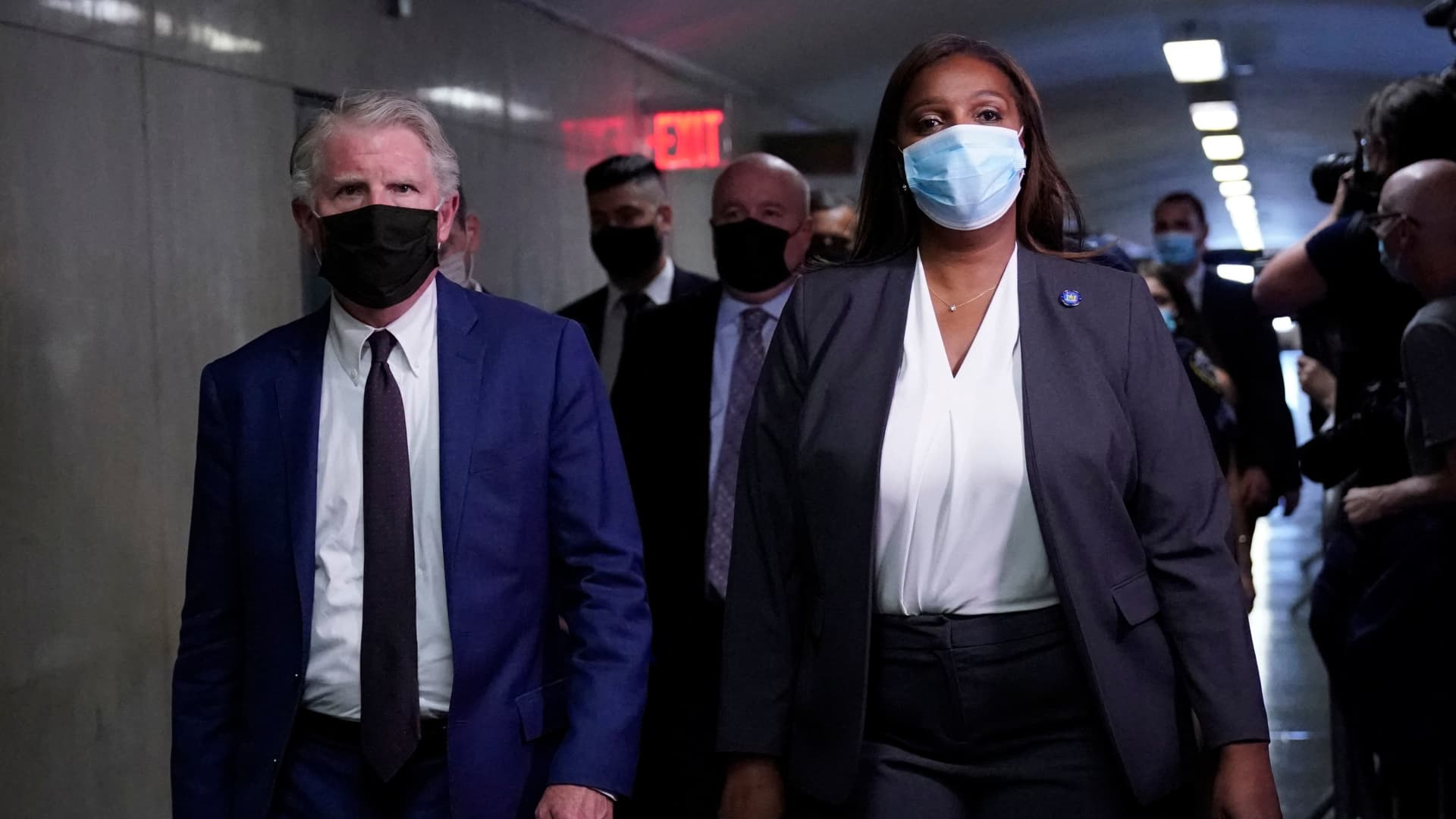 Cyrus Roberts Vance Jr. District Attorney of New York County and New York State Attorney General Letitia James arrive in court for the hearing of Allen Weisselberg, former US President Donald Trumps company chief financial officer at the criminal court in lower Manhattan in New York on July 1, 2021.