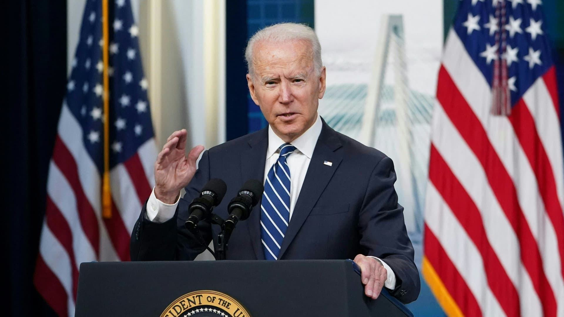US President Joe Biden speaks on the June jobs report in the South Court Auditorium of the Eisenhower Executive Office Building, next to the White House, in Washington, DC on July 2, 2021.