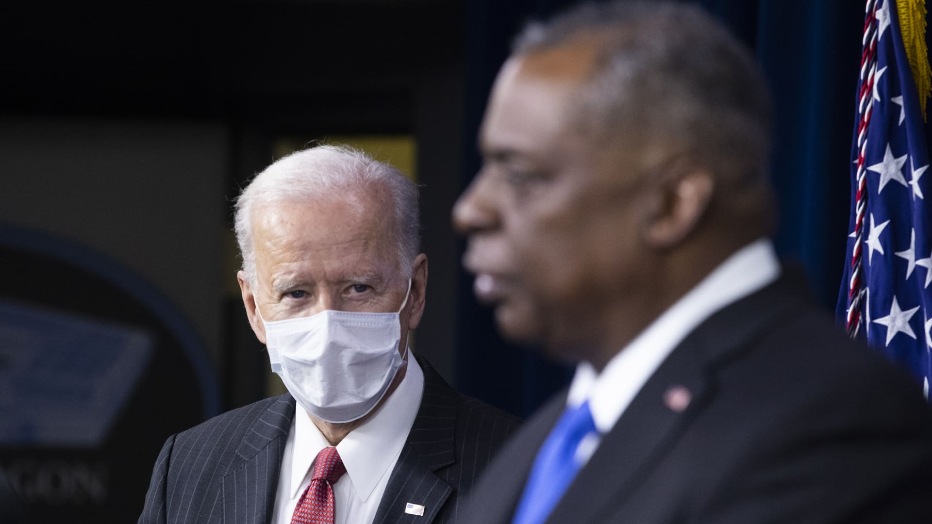 U.S. President Joe Biden listens as Lloyd Austin, U.S. secretary of defense, speaks at the Pentagon in Arlington, Virginia, U.S., on Wednesday, Feb. 10, 2021.