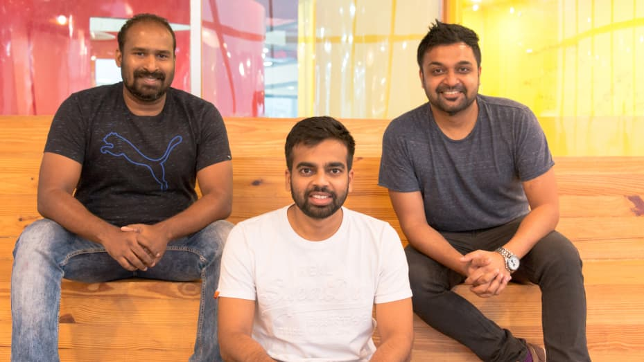 Sameer Mhatre, Nischal Shetty and Siddharth Menon, co-founders of Indian crypto trading exchange, WazirX.