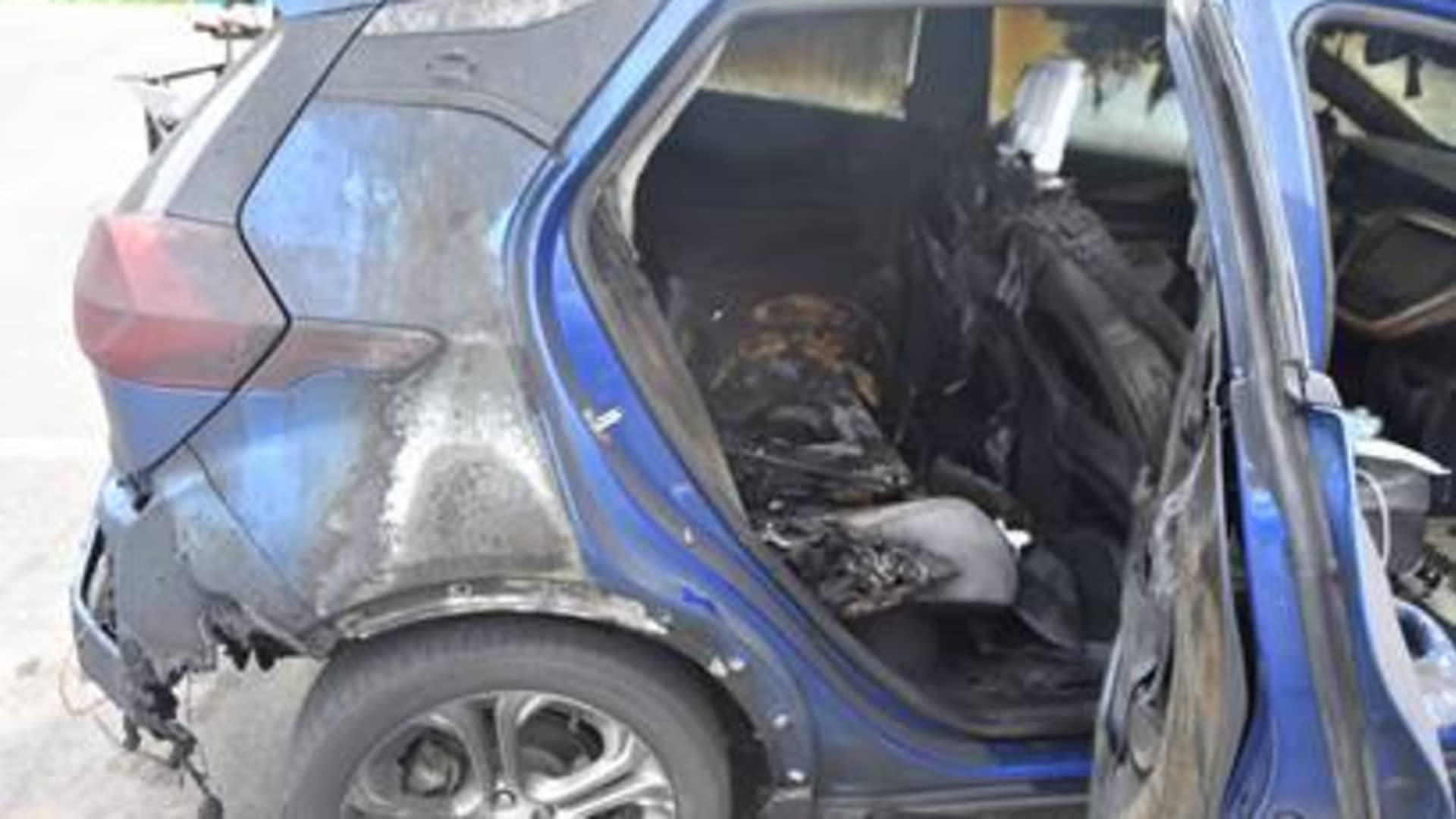The Vermont State Police released this photo of the 2019 Chevrolet Bolt EV that caught fire on July 1, 2021 in the driveway of state Rep. Timothy Briglin, a Democrat.