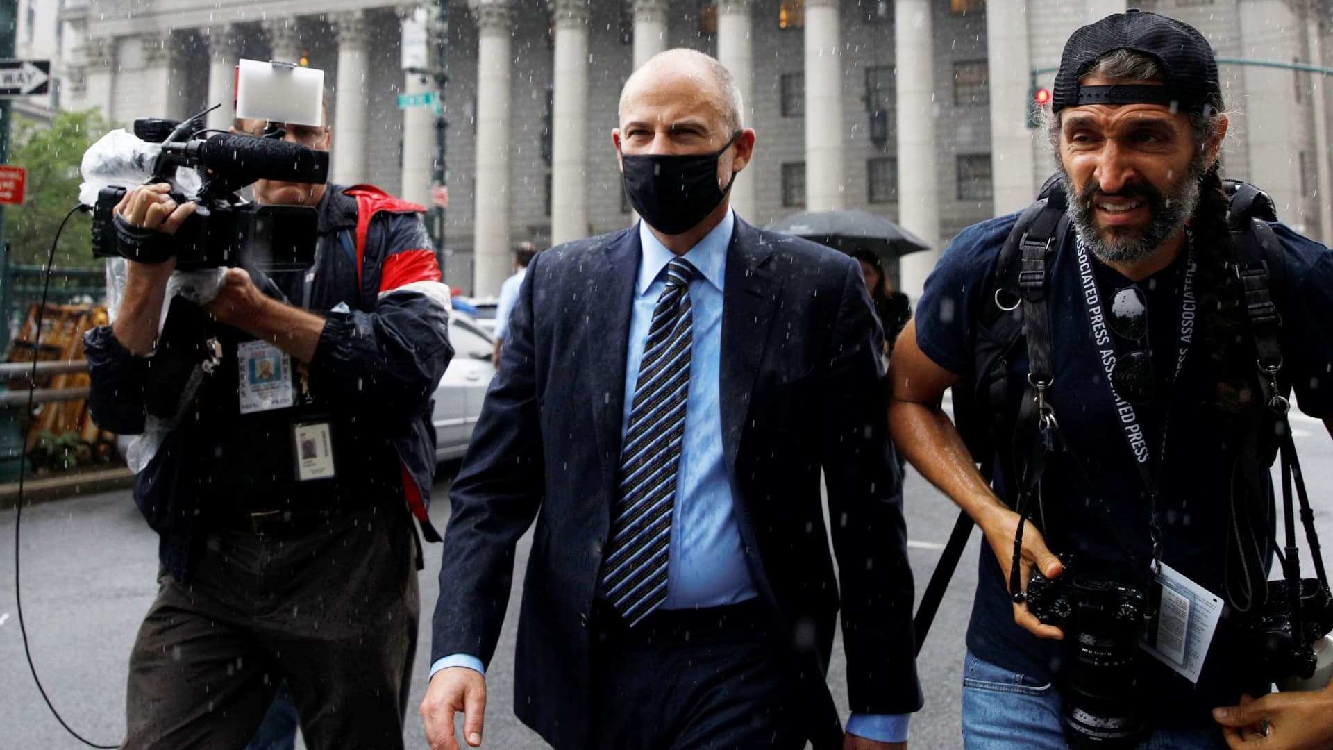 Attorney Michael Avenatti exits, following his sentencing for an extortion scheme against Nike Inc., at the United States Courthouse in New York City, July 8, 2021.