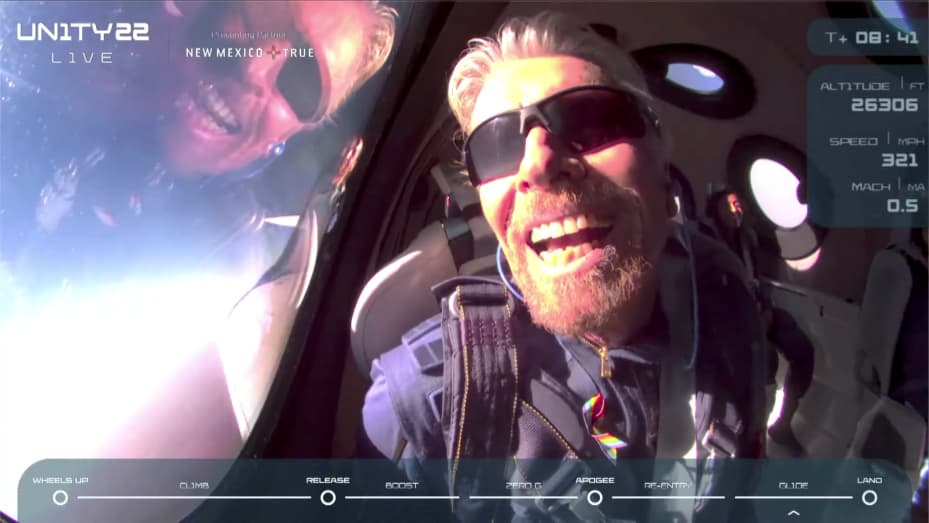 Billionaire Richard Branson reacts on board Virgin Galactic's passenger rocket plane VSS Unity after reaching the edge of space above Spaceport America near Truth or Consequences, New Mexico, U.S. July 11, 2021 in a still image from video.