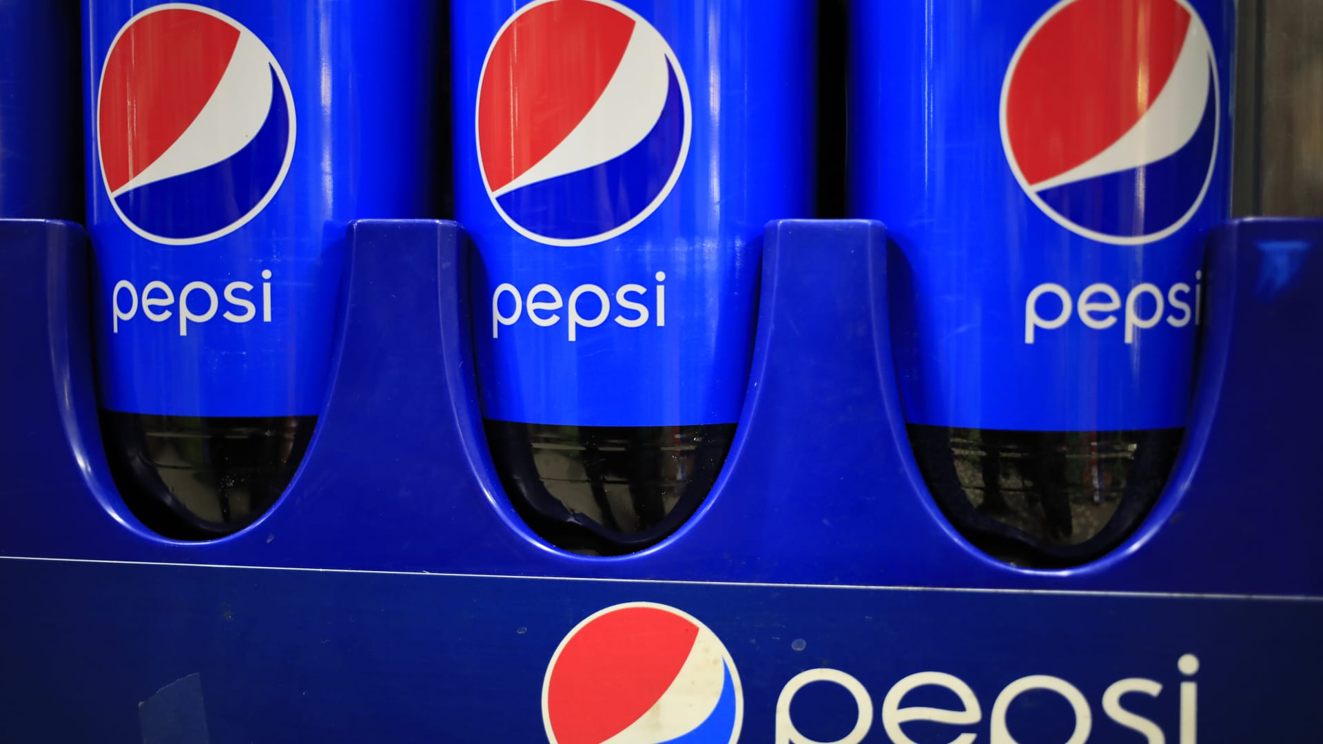 Bottles of PepsiCo Inc. brand Pepsi soda for sale at a grocery store in Bagdad, Kentucky, U.S., on Friday, April 9, 2021.