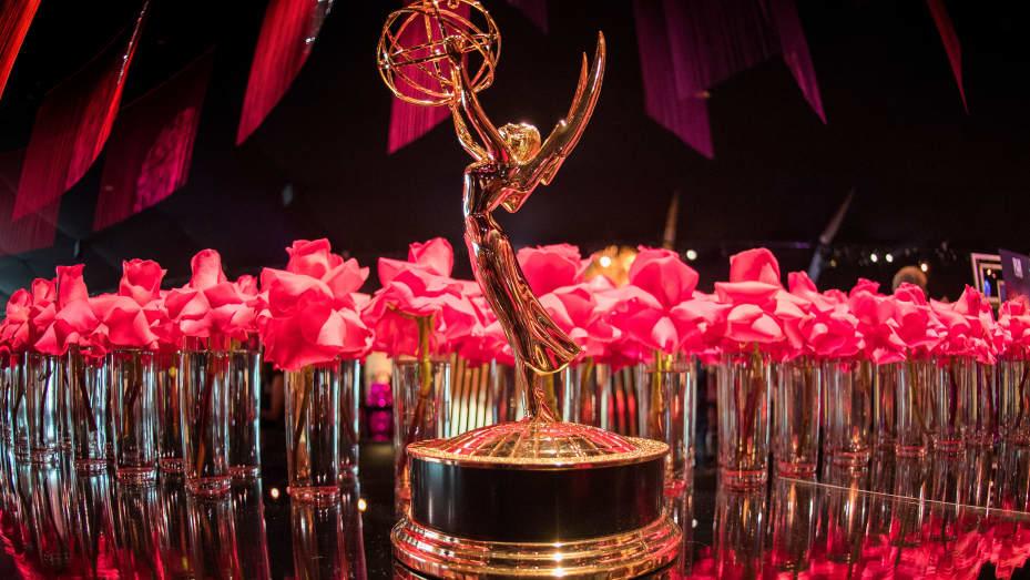 Patung Emmy di pratinjau pers Gubernur Ball Emmy Awards ke71 di LA Live di Los Angeles, California pada 12 September 2019