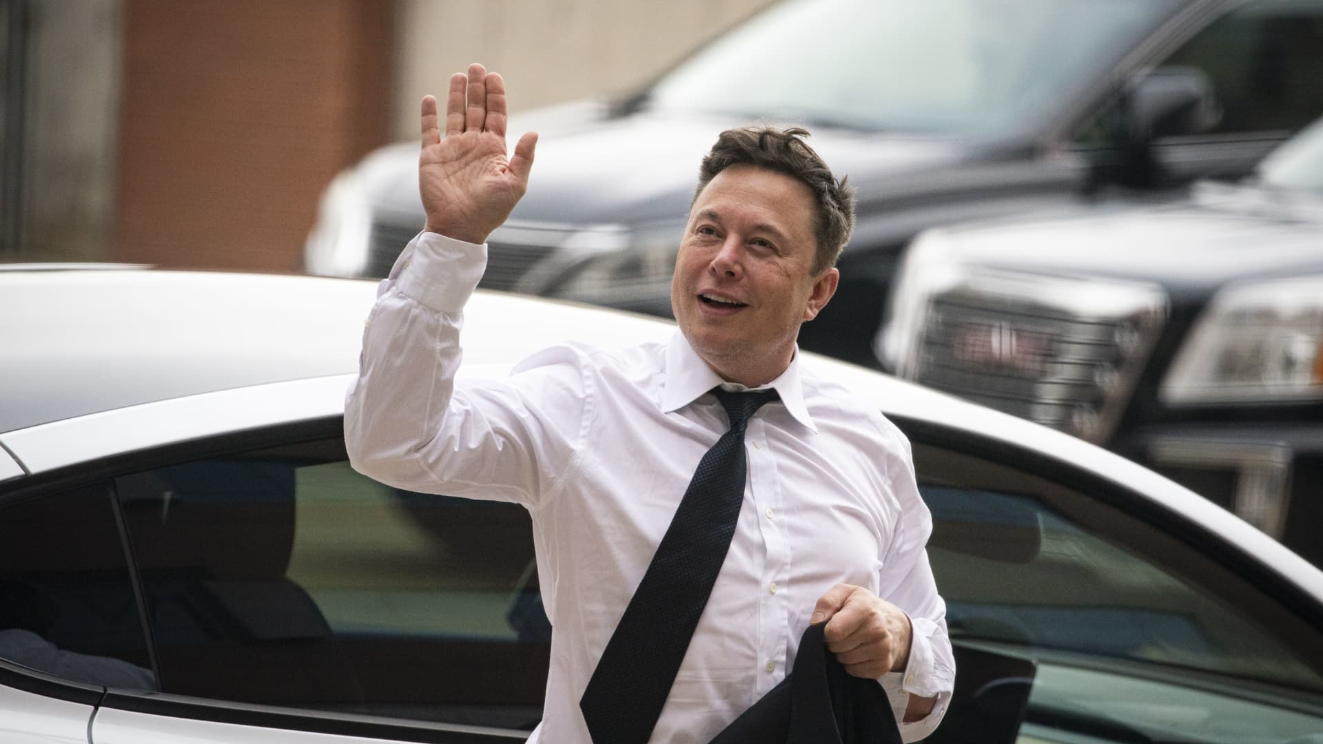 Elon Musk, chief executive officer of Tesla Inc., arrives at court during the SolarCity trial in Wilmington, Delaware, U.S., on Tuesday, July 13, 2021.