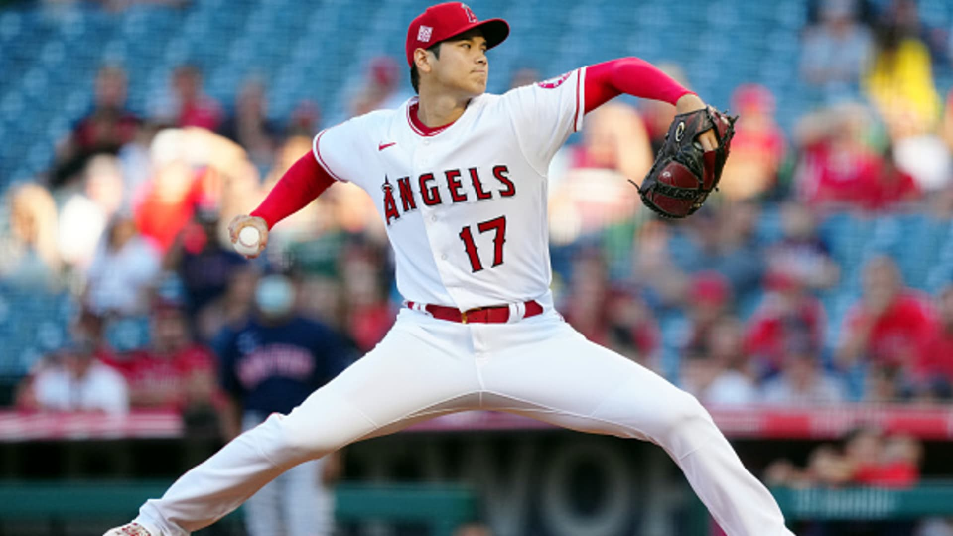 Shohei Ohtani #17 of the Los Angeles Angels pitches during the game between the Boston Red Sox and the Los Angeles Angels at Angel Stadium on Tuesday, July 6, 2021 in Anaheim, California.
