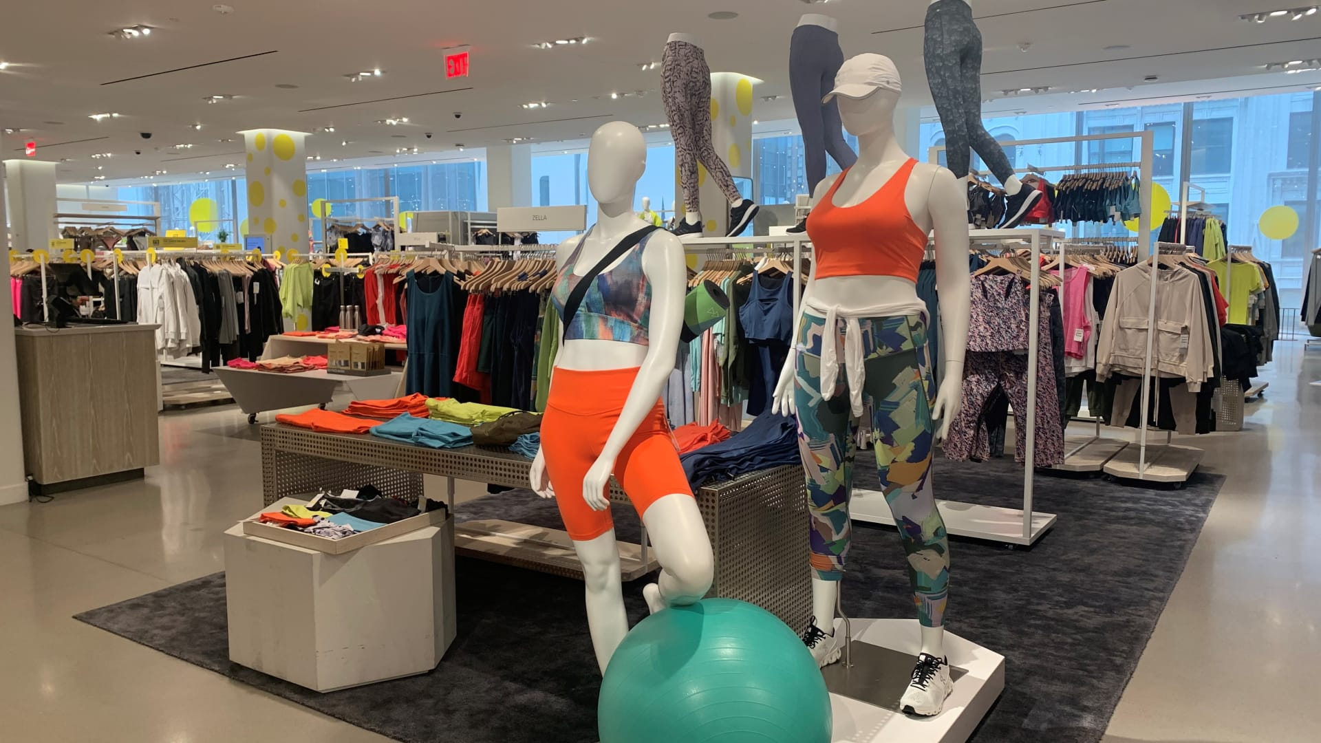 Active wear is on display during Nordstrom's annual Anniversary Sale event, at the company's flagship store in New York City.