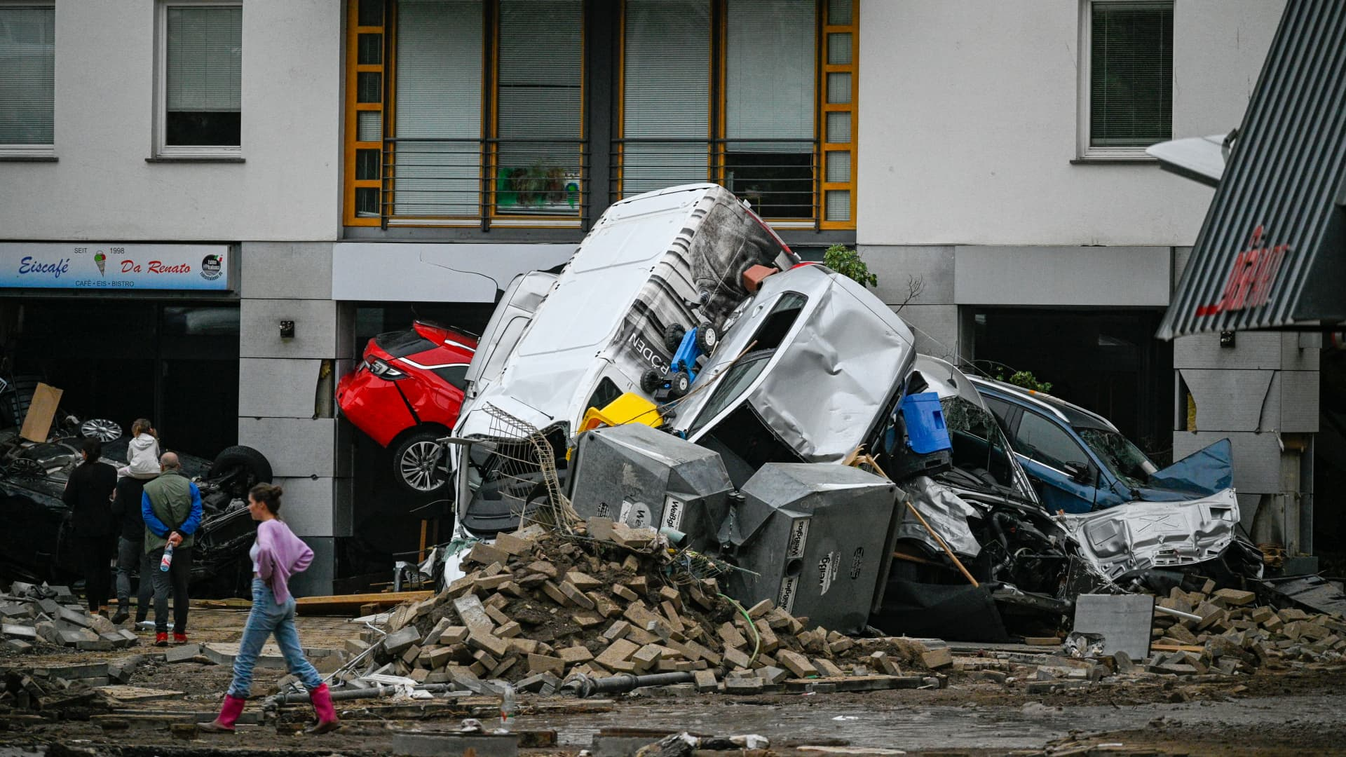 BAD NEUENAHR, GERMANY - JULY 16: Streets and residences damaged by the flooding of the Ahr River are seen on July 16, 2021 in Bad Neuenahr - Ahrweiler, Germany.