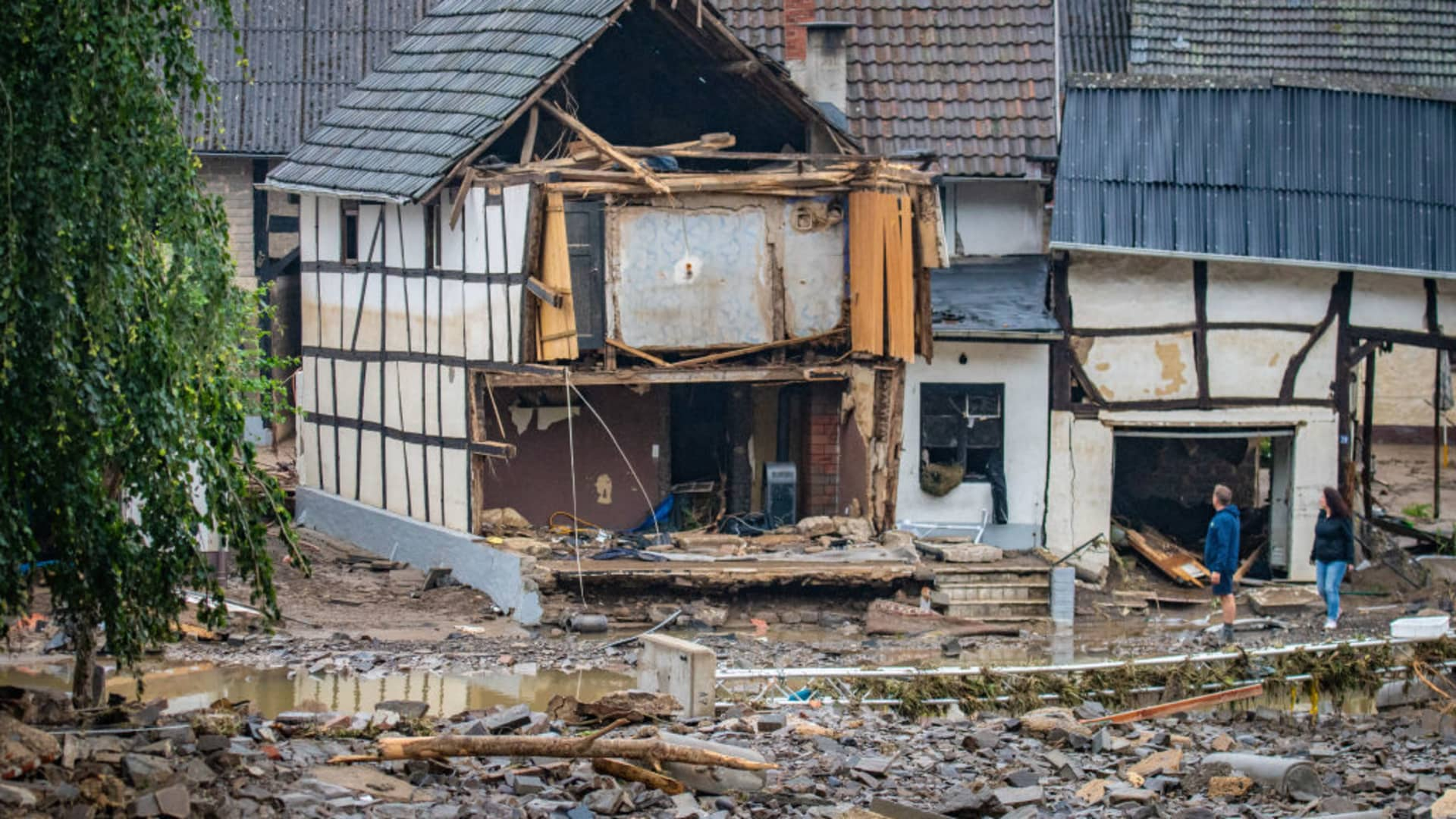 SCHULD, GERMANY - JULY 16: Destroyed houses and cars pictured on July 16, 2021 in Schuld, Germany.