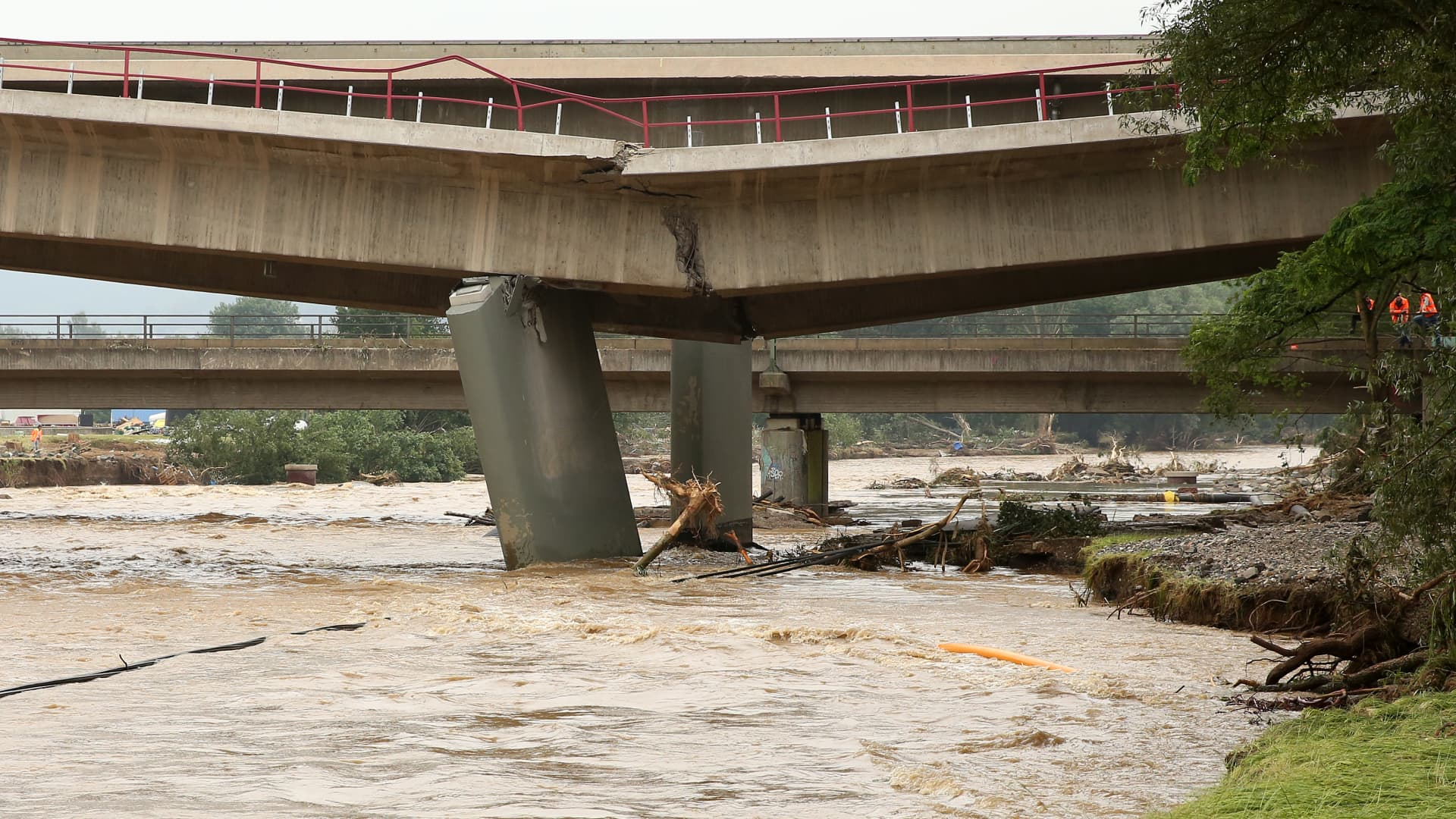 SINZIG, GERMANY - JULY 16: A broken bridge is seen after a major flood in the Ahrlweiler district of Germany's mountainous Eifel area on July 16, 2021 in the village of Sinzig, Germany.