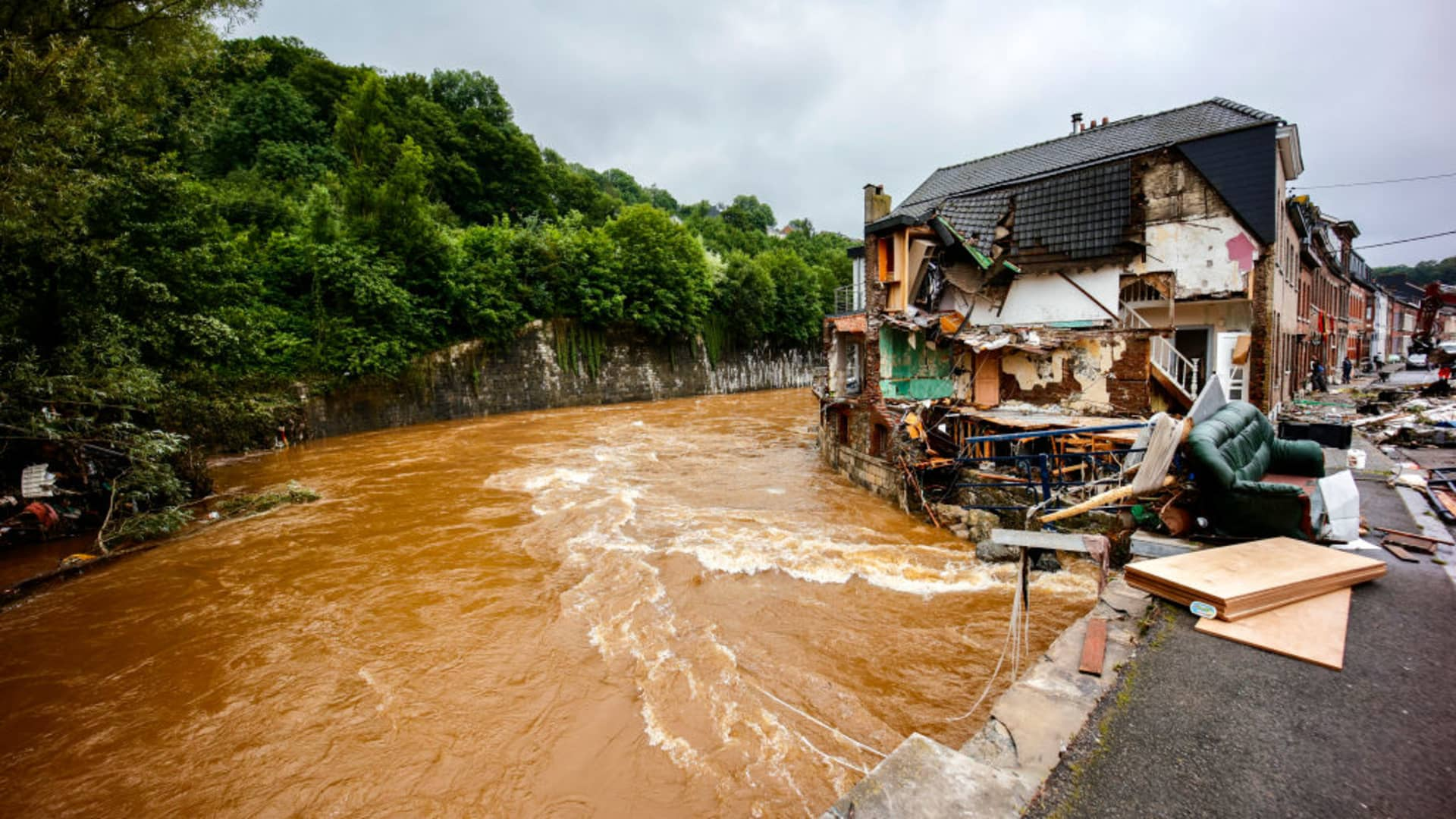 ENSIVAL, BELGIUM - JULY 16: Citizens are cleaning up their flooded houses on July 16, 2021 in Ensival, Belgium.