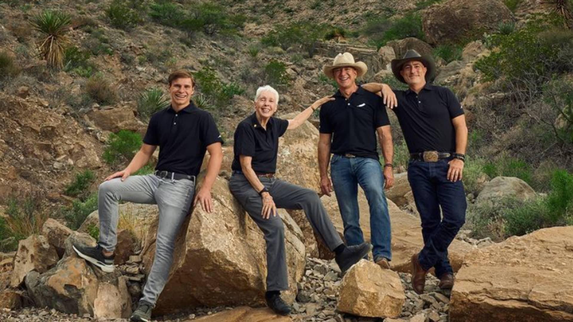 From left: Oliver Daemen, Wally Funk, Jeff Bezos, Mark Bezos.