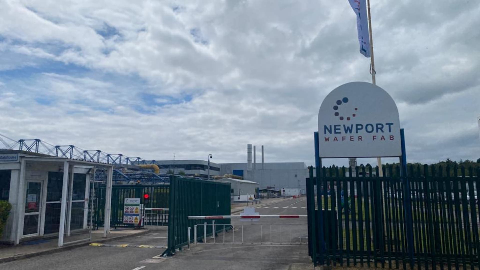 The entrance to Newport Wafer Fab's manufacturing facility in Newport, Wales.