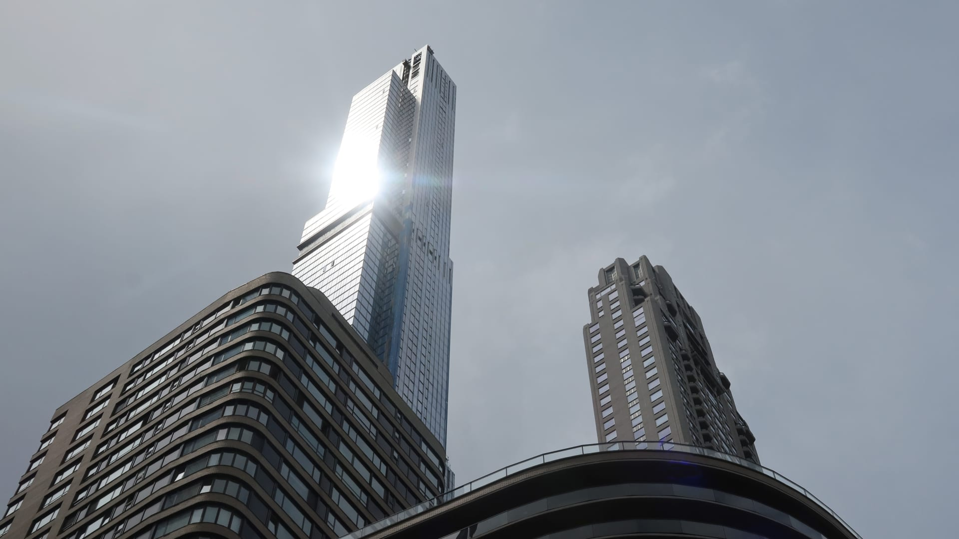 Central Park Tower and 220 Central Park South rise above 57th Street on May 16, 2021 in New York City.