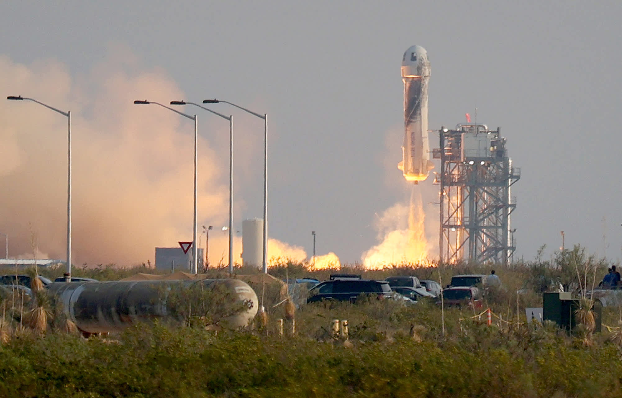 His Blue Origin company launched him into spaceflight history on Tuesday. Its first crewed New Shepard rocket blasted off from the Texas desert for th