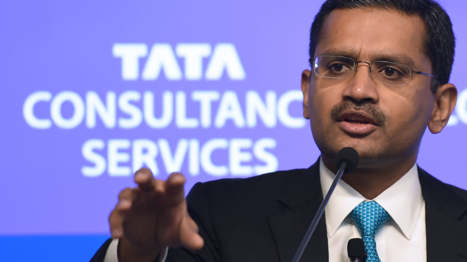 India's Tata Consultancy Services (TCS) CEO and Managing Director Rajesh Gopinathan speaks during a news conference after the announcement of the financial results of the company in Mumbai on April 19, 2018.