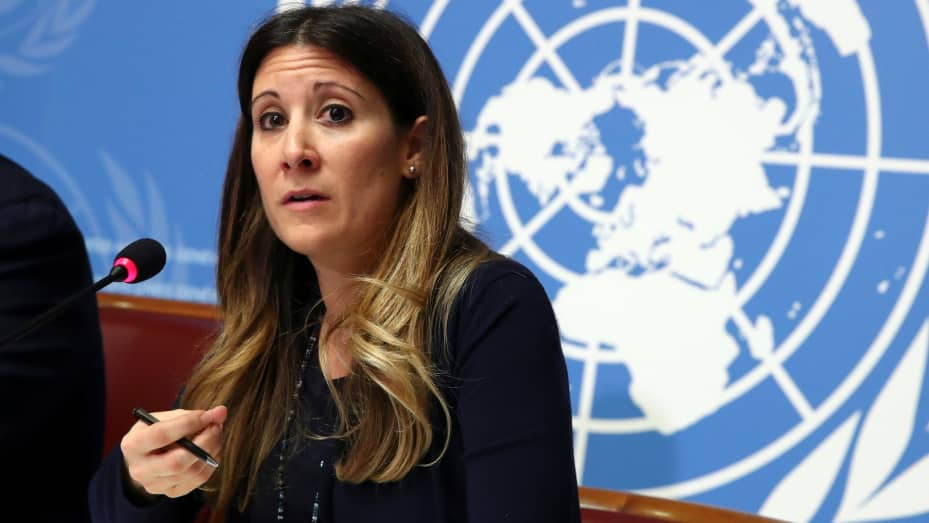 Maria Van Kerkhove, Head a.i. Emerging Diseases and Zoonosis at the World Health Organization (WHO), speaks during a news conference on the situation of the coronavirus at the United Nations in Geneva, Switzerland, January 29, 2020.