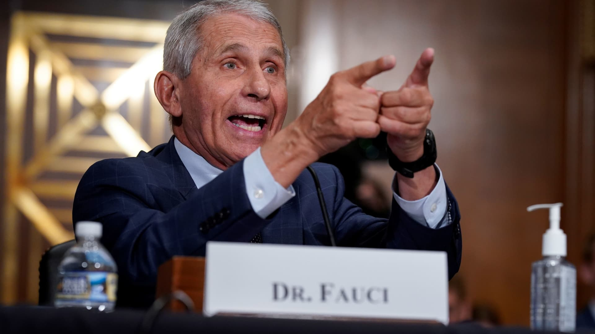 Top infectious disease expert Dr. Anthony Fauci responds to accusations by Sen. Rand Paul (R-KY) as he testifies before the Senate Health, Education, Labor, and Pensions Committee on Capitol hill in Washington, D.C., July 20, 2021.