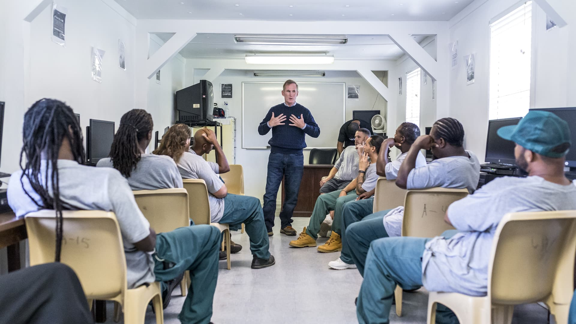Brian Hamilton, director of Inmates to Entrepreneurs, teaches a one-day course at Gaston Correctional Center in Dallas, N.C. in 2018.