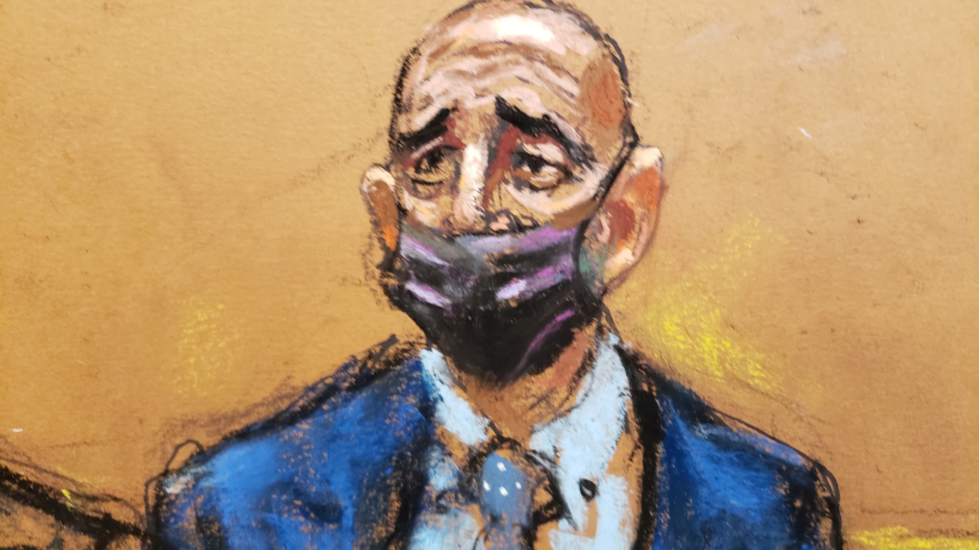 Thomas Barrack, a billionaire friend of Donald Trump who chaired the former president's inaugural fund, stands during his arraignment hearing at the Brooklyn Federal Courthouse in Brooklyn, New York, U.S., July 26, 2021 in this courtroom sketch.