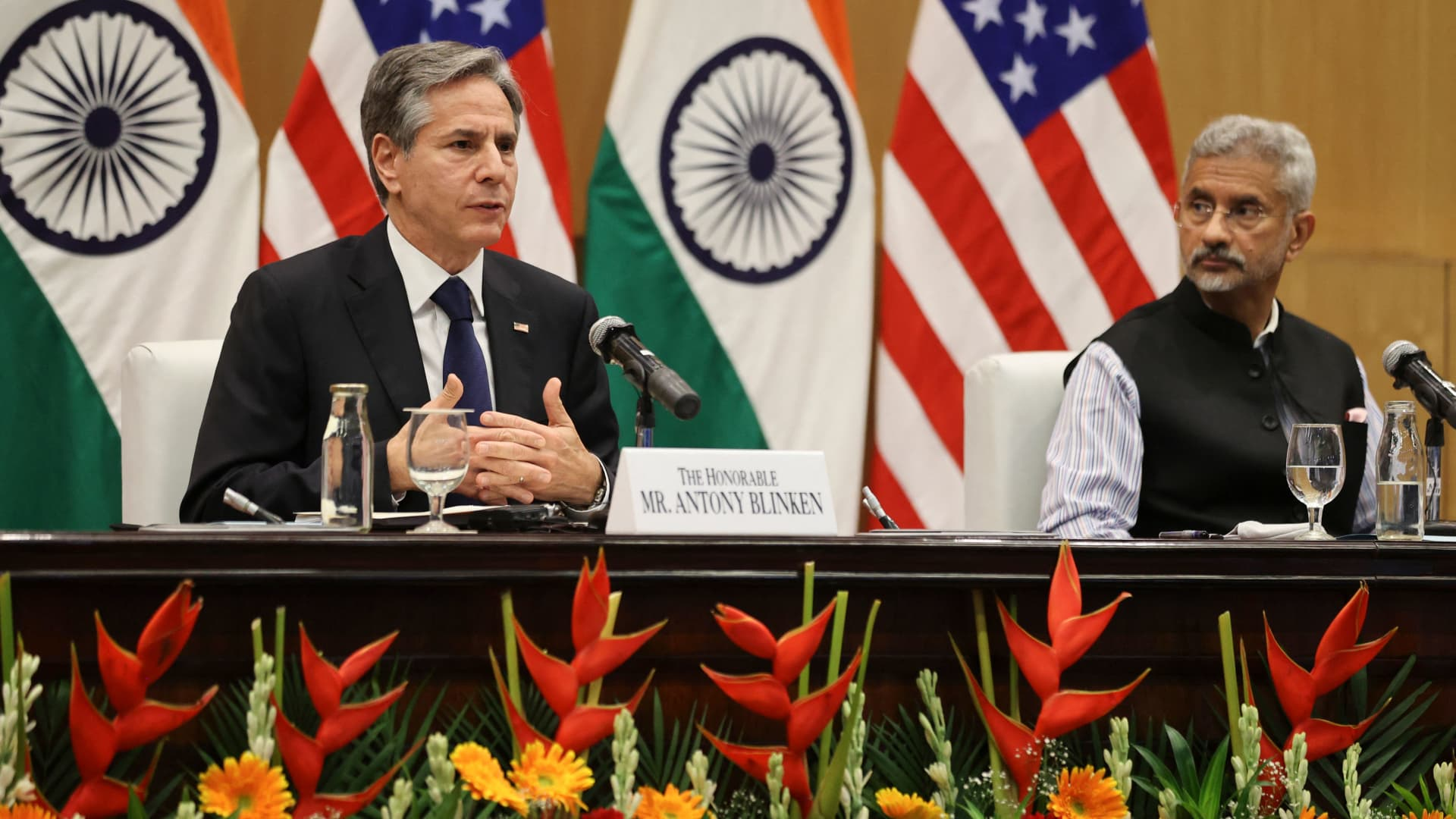 India's Minister of External Affairs Subrahmanyam Jaishankar (R) and U.S. Secretary of State Antony Blinken hold a joint news conference at Jawaharlal Nehru Bhawan in New Delhi on July 28, 2021.