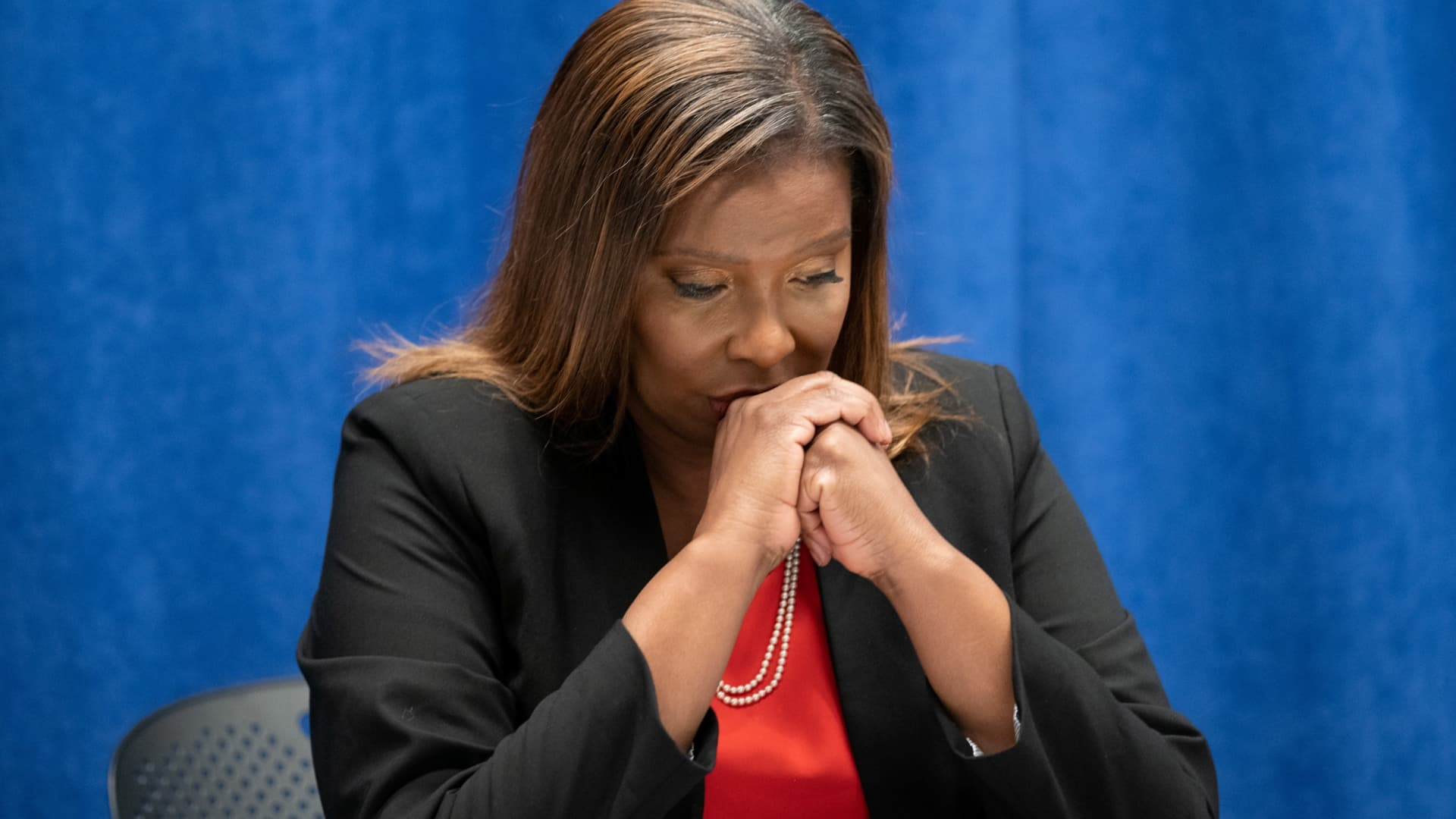 New York State Attorney General, Letitia James, listens to independent investigators Joon H. Kim and Anne L. Clark (not pictured) during a news conference regarding a probe that found New York Governor Andrew Cuomo sexually harassed multiple women, in New York, August 3, 2021.